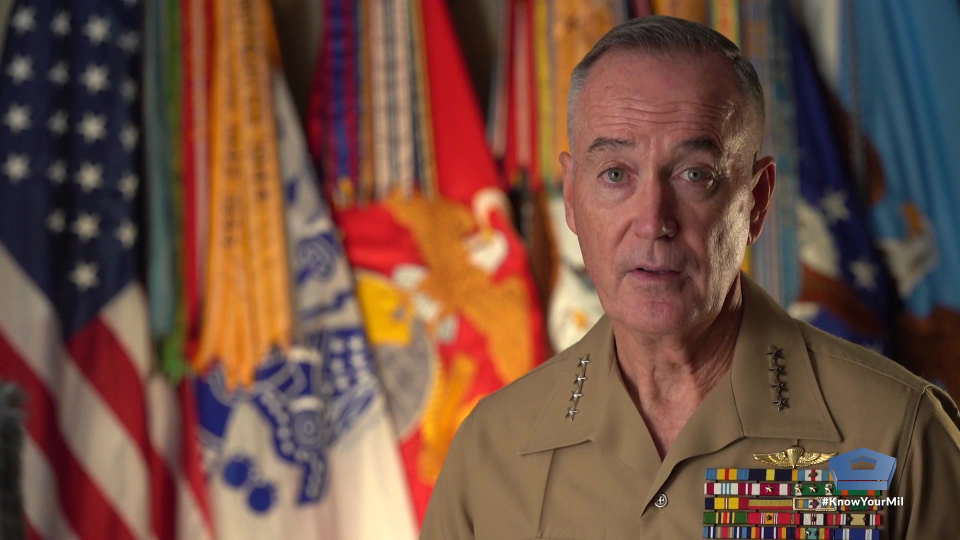 Marine Corps Gen. Joe Dunford, the 19th chairman of the Joint Chiefs of Staff, delivers a farewell message to members of the U.S. armed forces and their families at the Pentagon, Sept. 24, 2019.