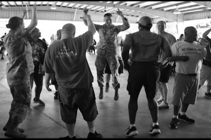 Members of the 145th Airlift Wing conduct a resiliency tactical pause to address Airmen mental health, and build relationships to combat suicide and stress in and out of the workplace.