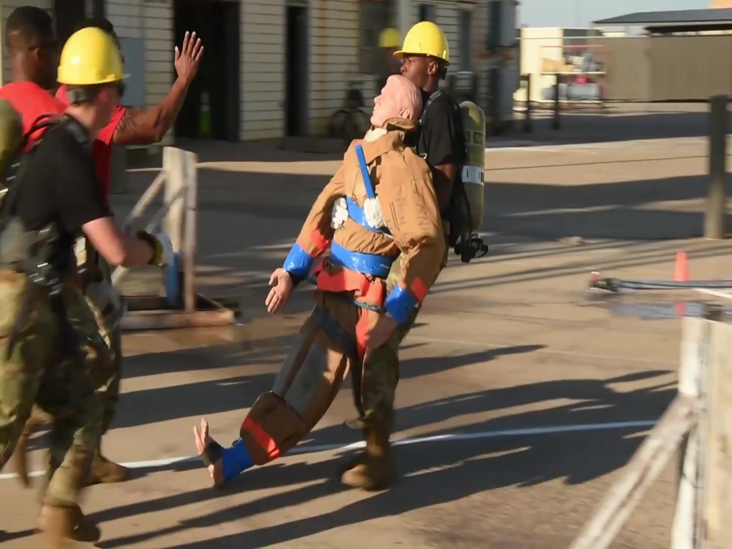 """Members of the 312th Training Squadron participated in the annual """"Blood, Sweat, and Stairs"""" event that commemorated firefighters who lost their lives on September 11, 2001."""