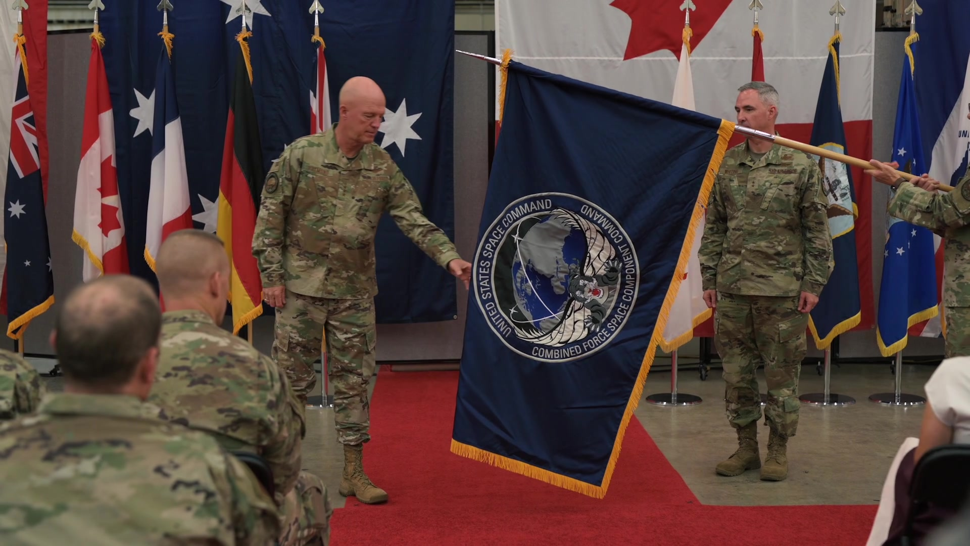 Joint and Coalition space officials from Australia, Canada, France, Germany, the United Kingdom and the United States attended a ceremony to formally recognize the establishment of Combined Force Space Component Command (CFSCC) at Vandenberg AFB, Calif., Oct. 1, 2019.  Through the ceremonious unfurling and passing of the CFSCC flag, the ceremony formally highlighted Raymond's appointment of Maj. Gen. Stephen N. Whiting as CFSCC Commander, and Brig. Gen. Matthew W. Davidson as CFSCC Deputy Commander. Additionally it recognized Whiting's appointment of Chief Master Sgt. John F. Bentivegna as the CFSCC Senior Enlisted Leader.  (U.S. Air Force video by Staff Sgt. JT Armstrong) (Additional video courtesy of Msgt. David Salanitri, NASA, SpaceX and Raytheon)