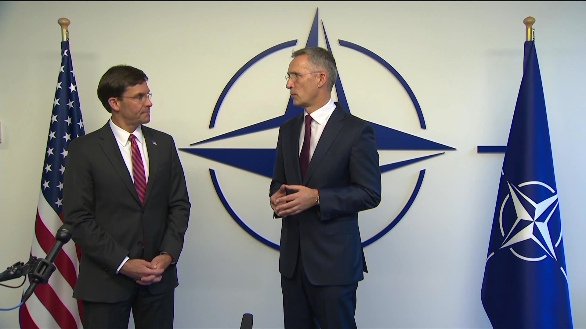 Defense Secretary Dr. Mark T. Esper and NATO Secretary General Jens Stoltenberg speak at the NATO defense ministerial conference, at the alliance's headquarters in Brussels, Oct. 24, 2019.