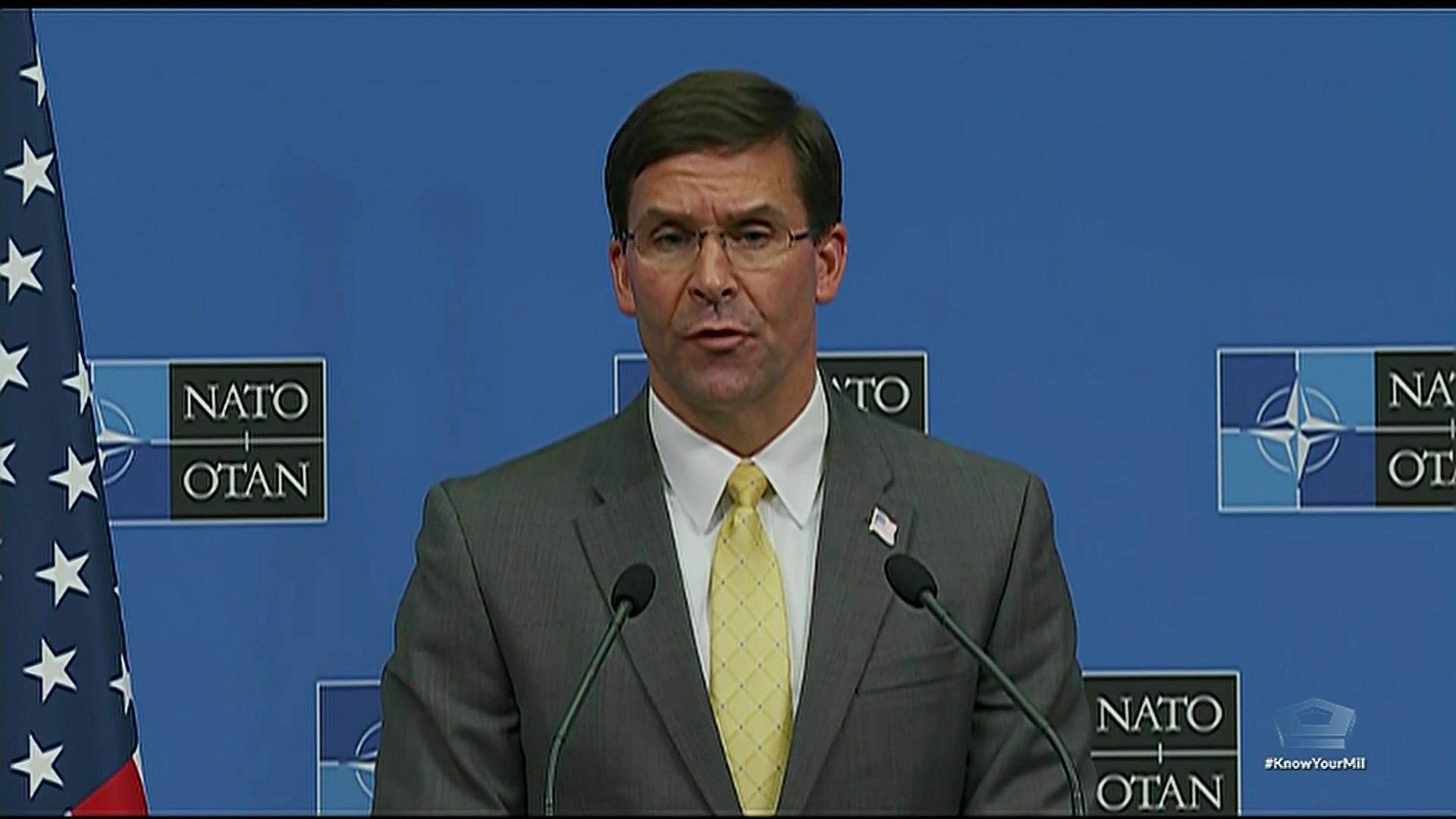 Defense Secretary Dr. Mark T. Esper participates in a news conference at the NATO defense ministerial conference in Brussels, Oct. 25, 2019.