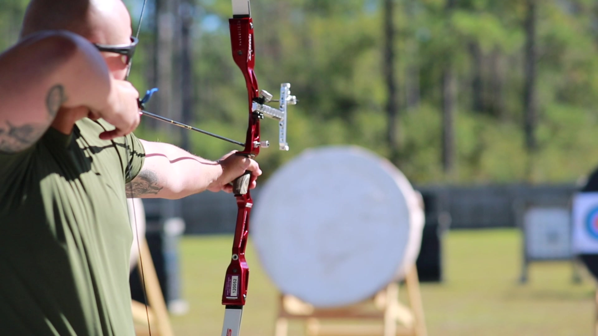 U.S. Marines with Wounded Warrior Battalion East and Soldiers with the British Royal Army shot archery on Marine Corps Base Camp Lejeune, North Carolina, Oct. 23, 2019. The purpose of the visit was to foster camaraderie amongst international military service members and promote the health and wellness of the Marines and British service members recovering from physical and mental health challenges. (U.S. Marine Corps video by Lance Cpl. Katie Campbell)