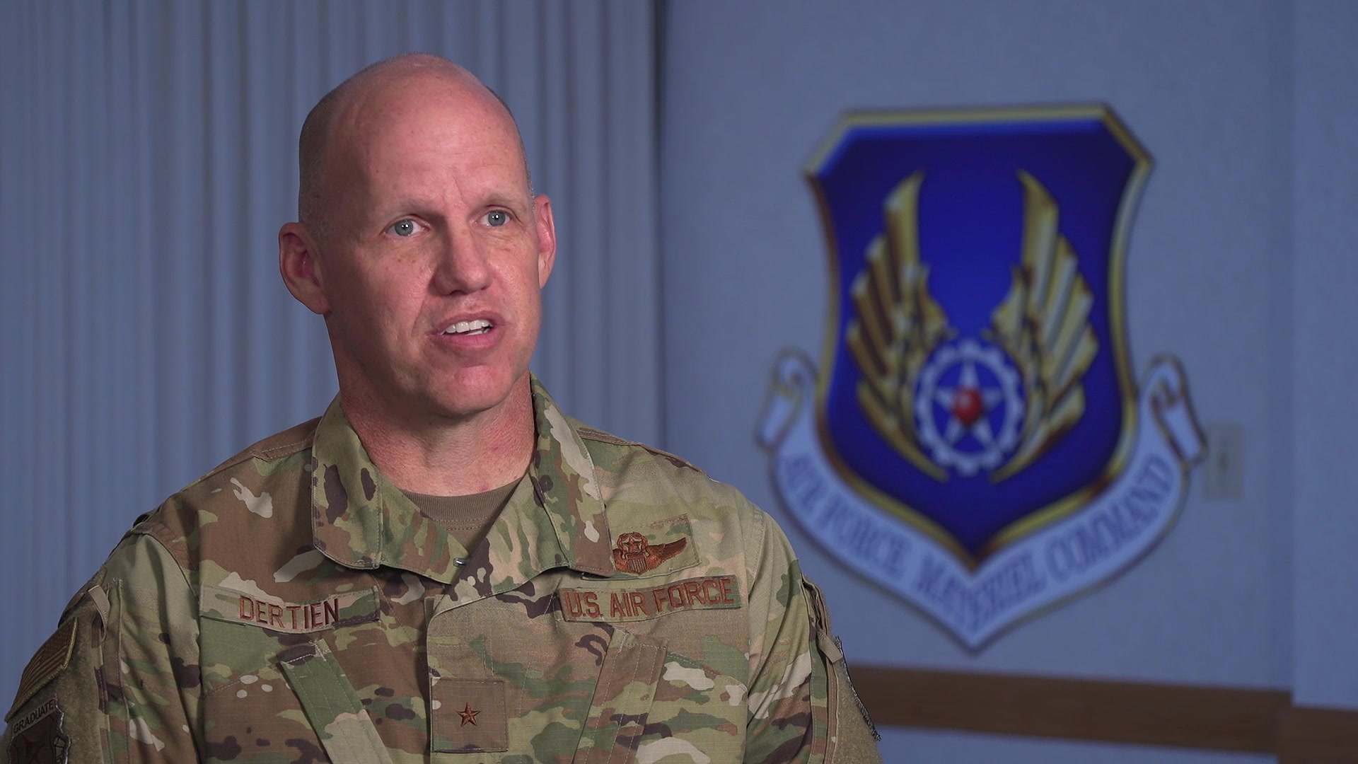 Brig. Gen. Evan C. Dertien, Director of Air, Space and Cyberspace Operations, Headquarters Air Force Materiel Command, shares his perspective on the importance of mentorship, Wright-Patterson AFB, Ohio, Nov. 18, 2019. The Air Force Materiel Command Mentorship Program uses first-person stories to share perspectives, relate experiences, and work through the challenges of mentoring. (U.S. Air Force video by 88th Air Base Wing Public Affairs