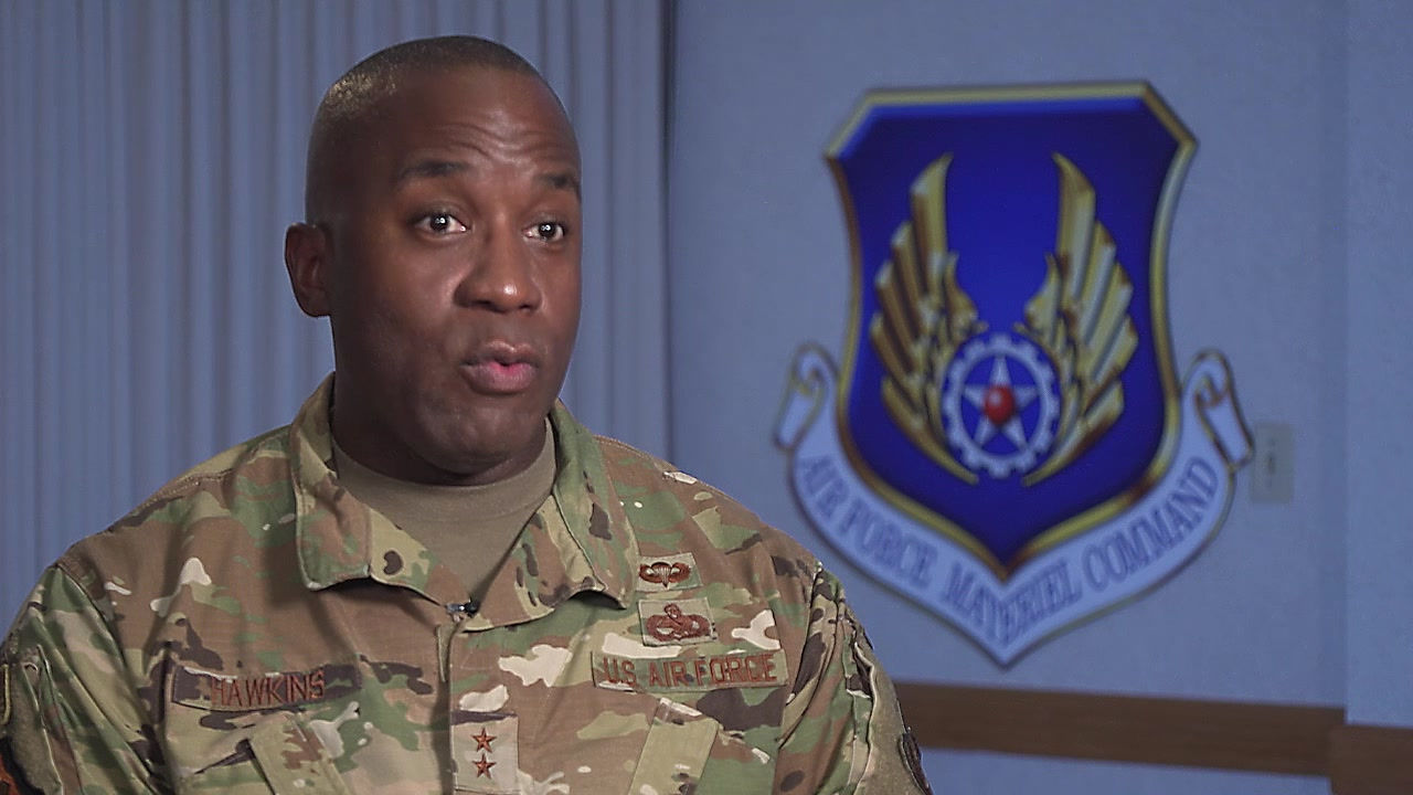 Maj. Gen. Stacey T. Hawkins, Director of Logistics, Civil Engineering, Force Protection and Nuclear Integration, Headquarters Air Force Materiel Command, shares his perspective on the importance of mentorship, Wright-Patterson AFB, Ohio, Nov. 18, 2019. The Air Force Materiel Command Mentorship Program uses first-person stories to share perspectives, relate experiences, and work through the challenges of mentoring. (U.S. Air Force video by 88th Air Base Wing Public Affairs)