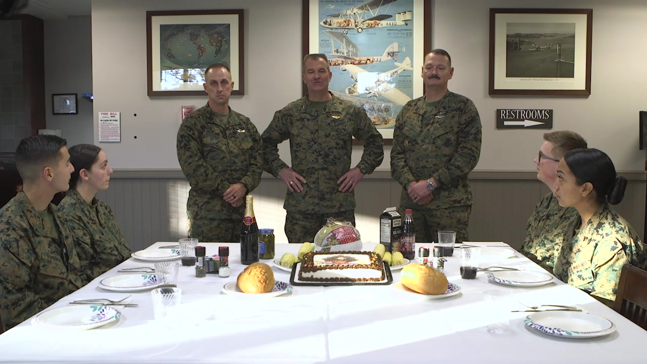 Maj. Gen. Karsten Heckl, Commanding General, Sgt. Maj. Jacob Reiff, Sergeant Major, and CMDCM (FMF/SW/SS) Christopher Hill, Command Master Chief deliver their message to the Marines and Sailors of the 2nd Marine Aircraft Wing for Thanksgiving, 2019. (U.S. Marine Corps video by Lance Cpl. Chelsi Woodman)