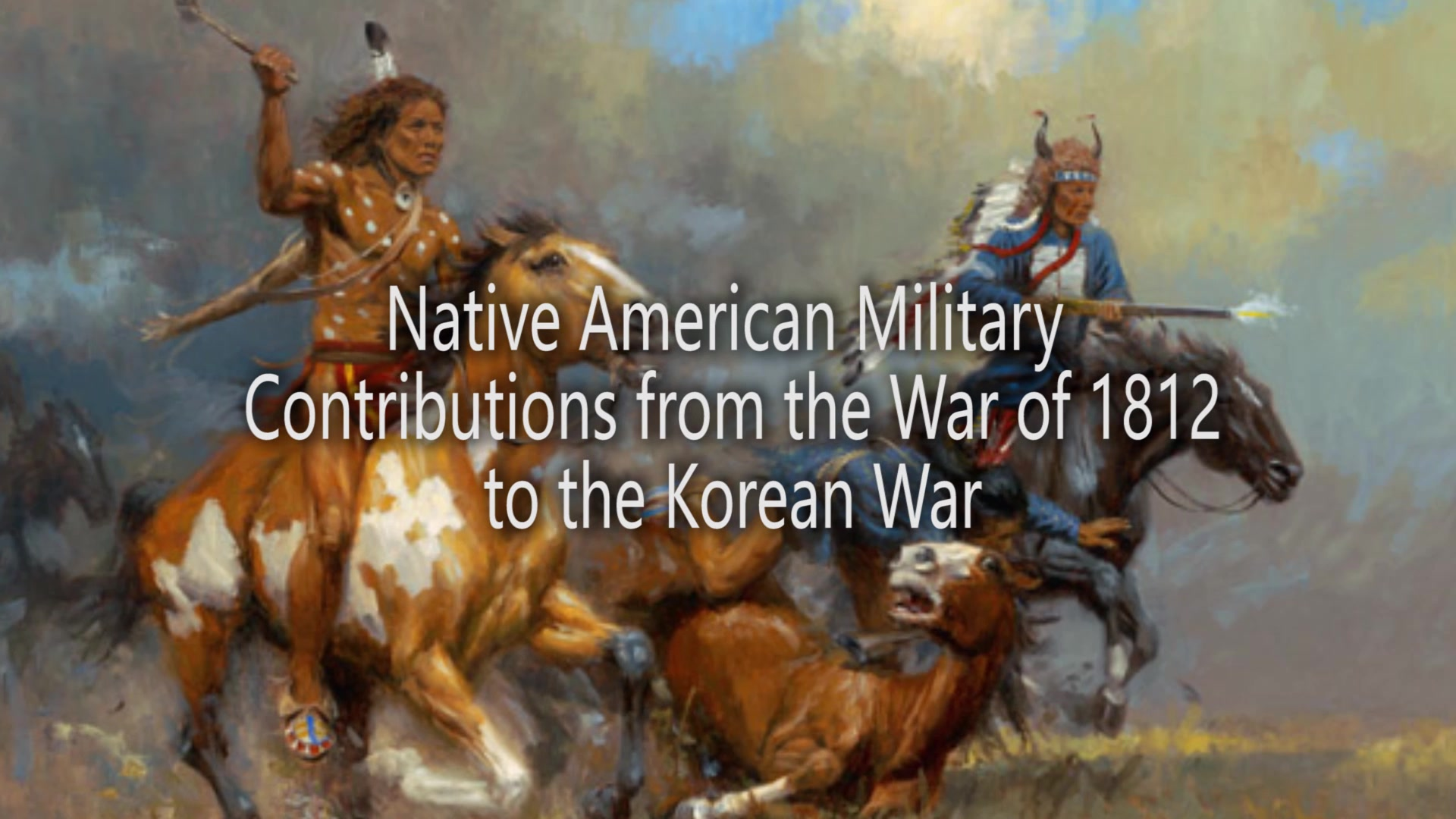Native Americans have participated with distinction in United States military actions for more than 200 years. Many tribes were involved in the War of 1812, and also fought for both sides as auxiliary troops in the Civil War. It is estimated that more than 12,000 American Indians served in the United States military in World War I. The outbreak of World War II brought American Indians warriors back to the battlefield in defense of their homeland. More than 44,000 American Indians, out of a total Native American population of less than 350,000, served with distinction between 1941 and 1945 in both European and Pacific theaters of war. Native American men and women on the home front also showed an intense desire to serve their country, and were an integral part of the war effort. More than 40,000 Indian people left their reservations to work in ordnance depots, factories, and other war industries. Battle-experienced American Indian troops from World War II were joined by newly recruited Native Americans to fight Communist aggression during the Korean War. Today, Native Americans continue to serve and carry on their centuries-old warrior tradition — serving with pride, courage and distinction. (U.S. Army Reserve video by Staff Sgt. Rodney Roldan)
