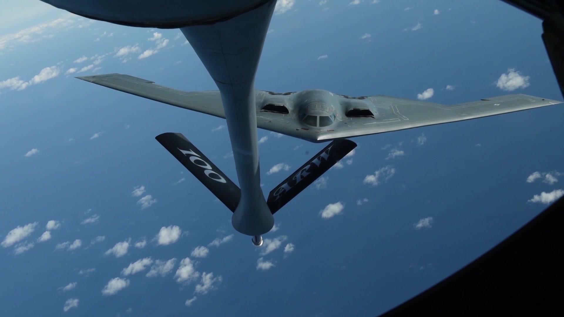 B-Roll stringer showcasing U.S. Air Force B-2 Spirit take-off and in-flight refueling.