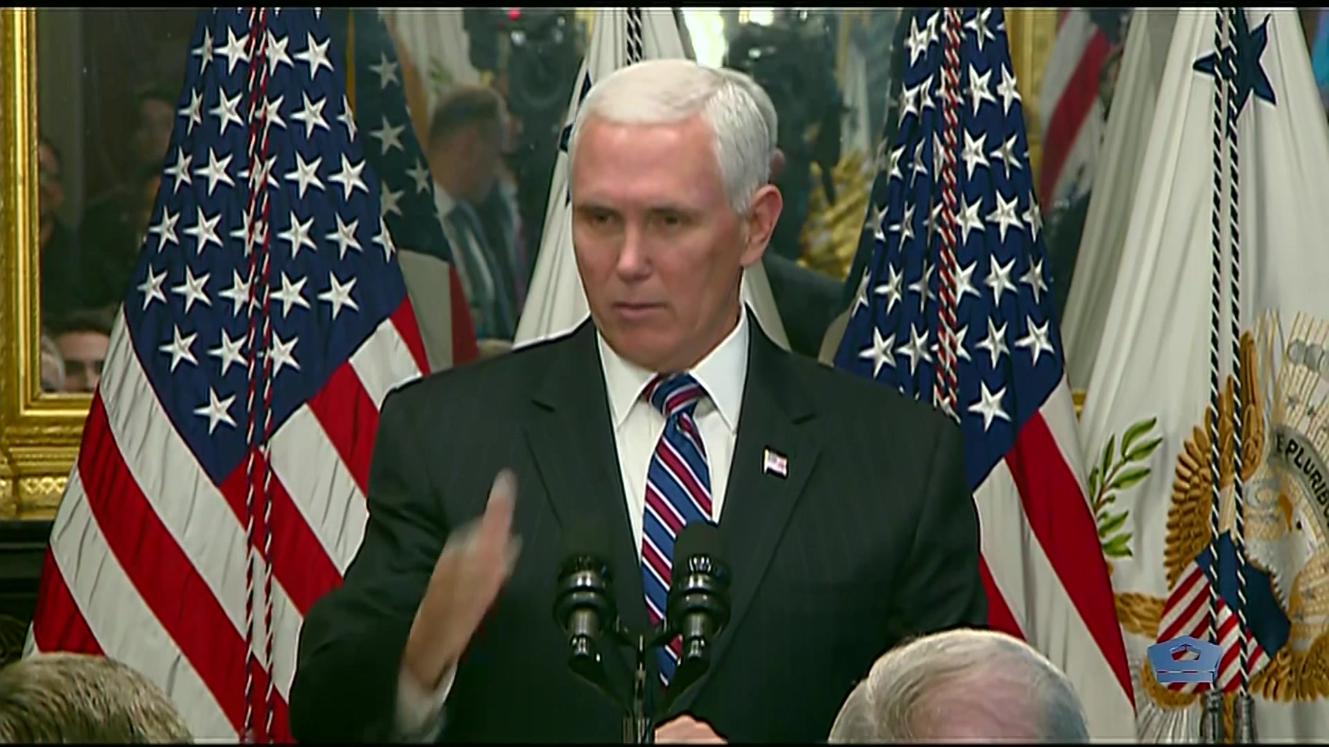 Vice President Mike Pence swore in Gen. John W. Raymond as the first Chief of Space Operations at the White House, today.