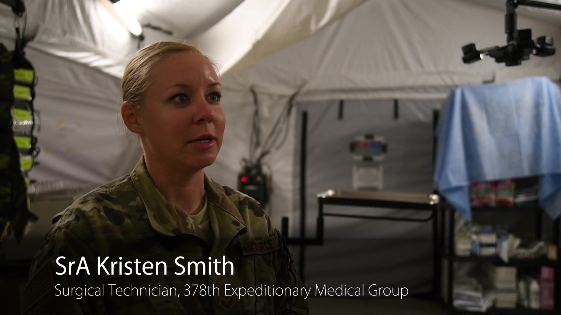 SrA Kristen Smith arrived with the original expeditionary medical team at Prince Sultan Air Base. She played a vital role in building the operating room for the 378th Expeditionary Medical Group.