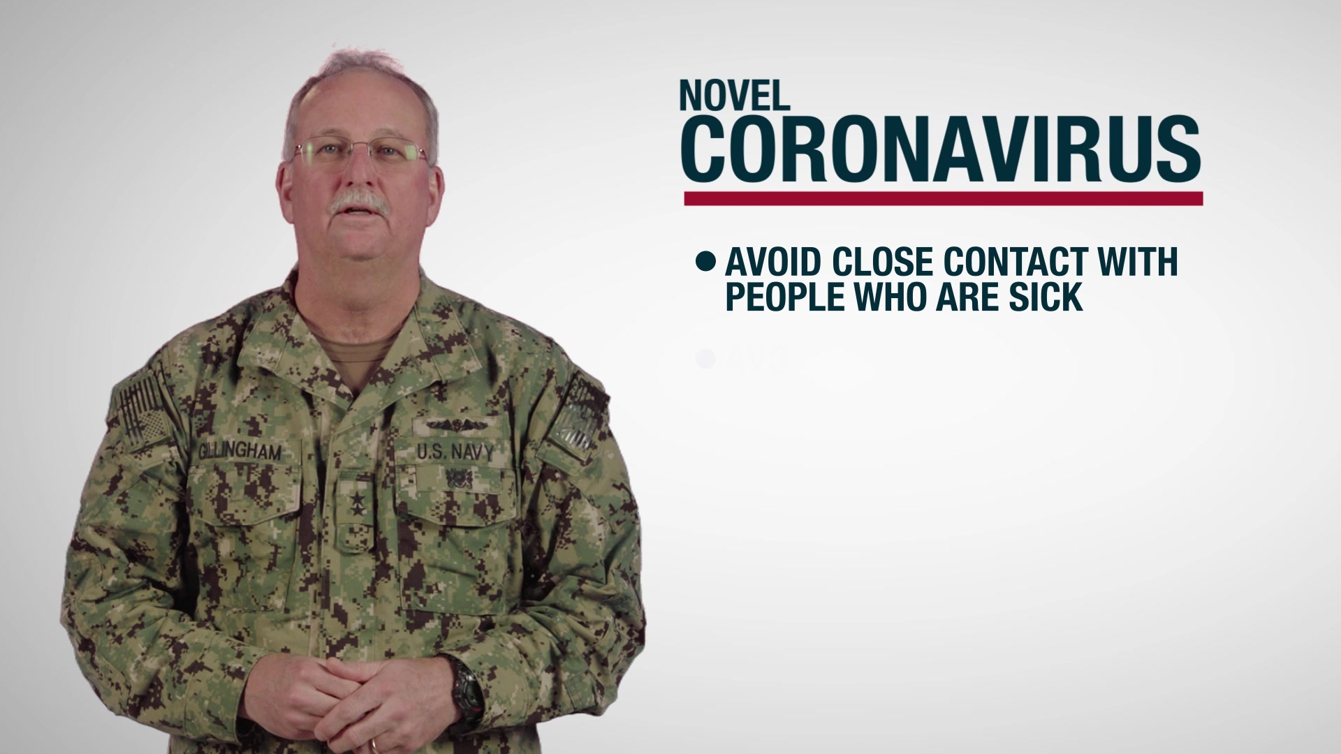 US Navy Surgeon General message to Sailors and Marines about CDC guidelines regarding the Novel Coronavirus. Produced by Navy Medicine Professional Development Center (NMPDC).
