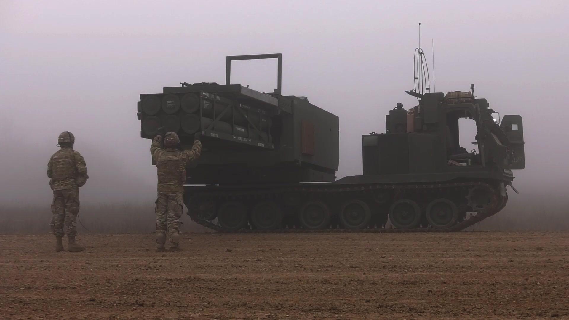 41st Field Artillery Brigade fires the M207 Multiple Launch Rocket System