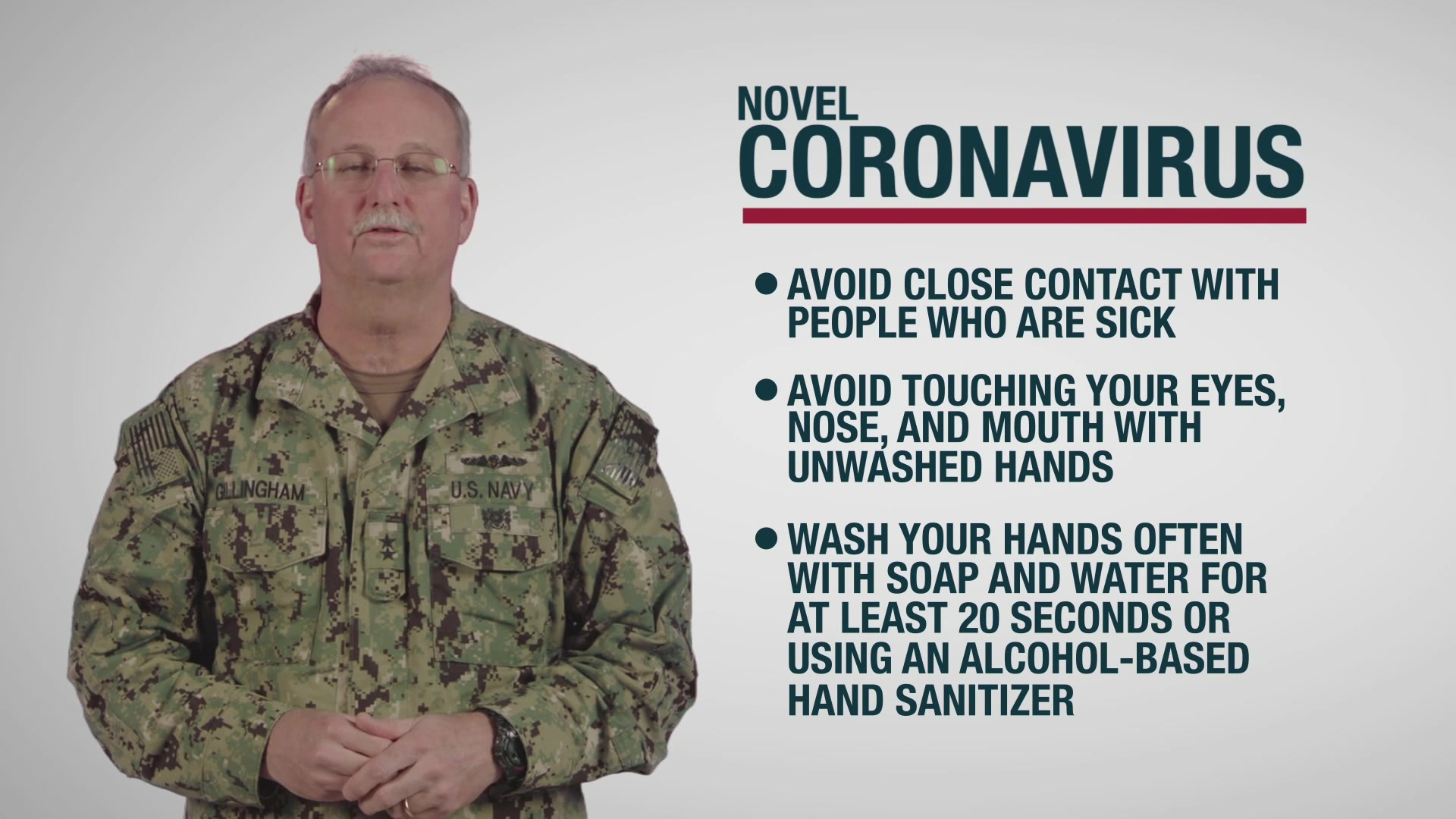 US Navy Surgeon General message to Sailors and Marines about CDC guidelines regarding the Novel Coronavirus.