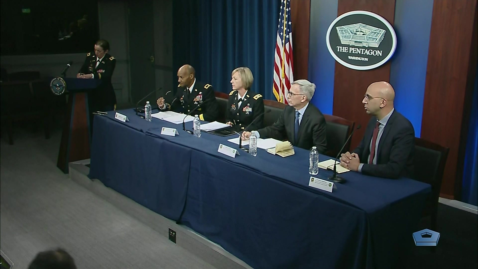 These military medical experts will discuss their efforts in supporting the whole of government approach to investigate and develop vaccine candidates against COVID-19, coronavirus, at a Pentagon news conference today: Army Brig. Gen. Michael J. Talley, commander of the U.S. Army Medical Research and Development Command and Fort Detrick, Md.; Army Col. Wendy Sammons-Jackson, director of USAMRDC's Military Infectious Disease Research Program; Dr. Nelson Michael, director of the Center for Infectious Disease Research at the Walter Reed Army Institute of Research; and Dr. Kayvon Modjarrad, director of Emerging Infectious Diseases at the Walter Reed Army Institute of Research, March 5, 2020.