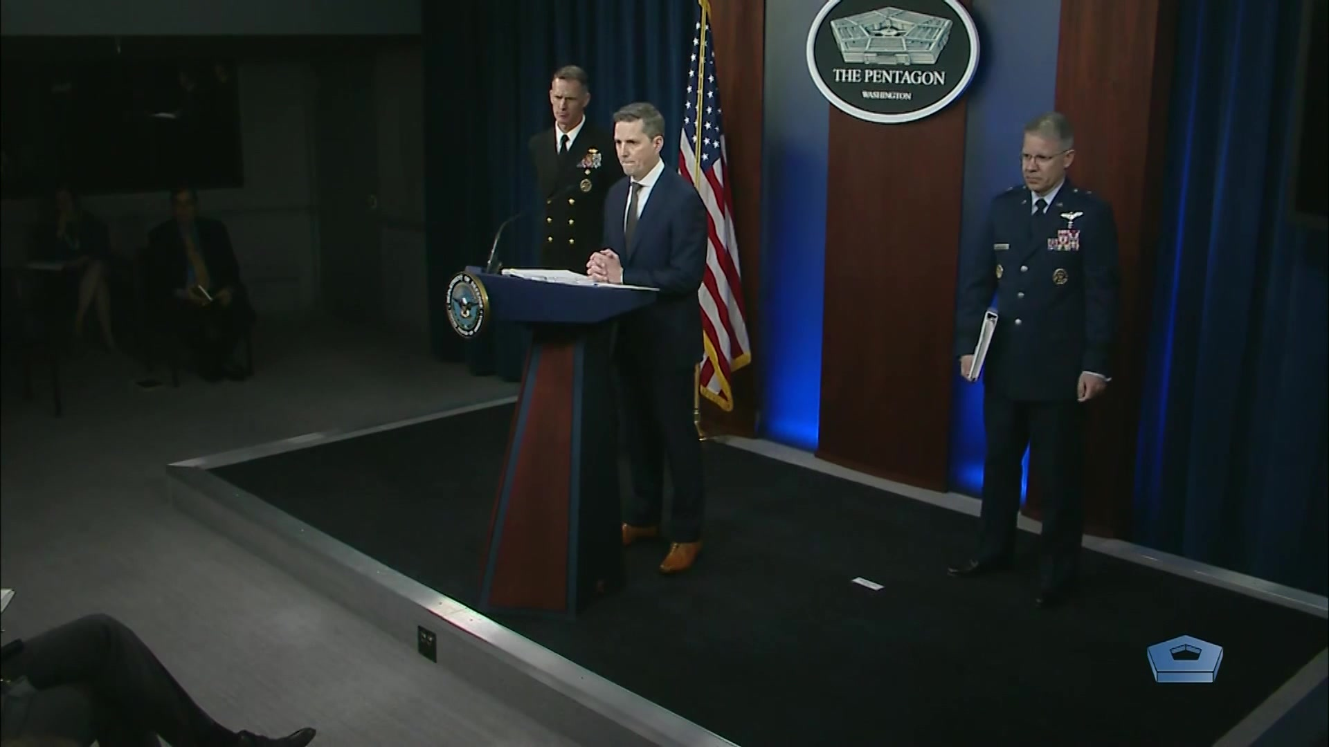 Assistant Defense Secretary for Public Affairs Jonathan Rath Hoffman and Navy Rear Adm. William D. Byrne Jr., Joint Staff vice director and and Air Force Brig. Gen. Paul A. Friedrichs, Joint Staff Surgeon, hold a news conference at the Pentagon, March 10, 2020.