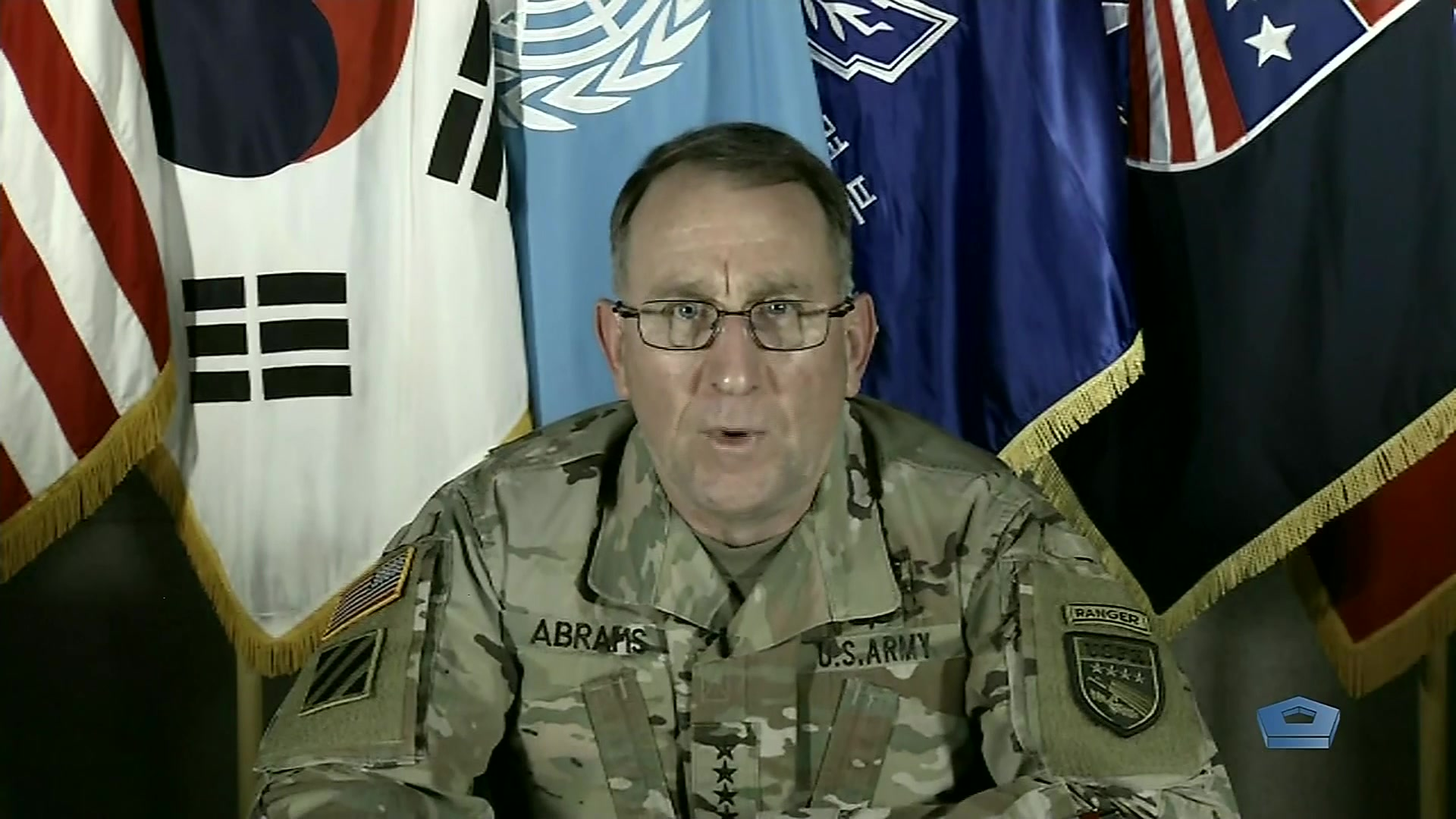 "Army Gen. Robert B. ""Abe"" Abrams, commander of United States Forces Korea, updates Pentagon reporters by telephone on USFK's response to COVID-19, March 13, 2020."