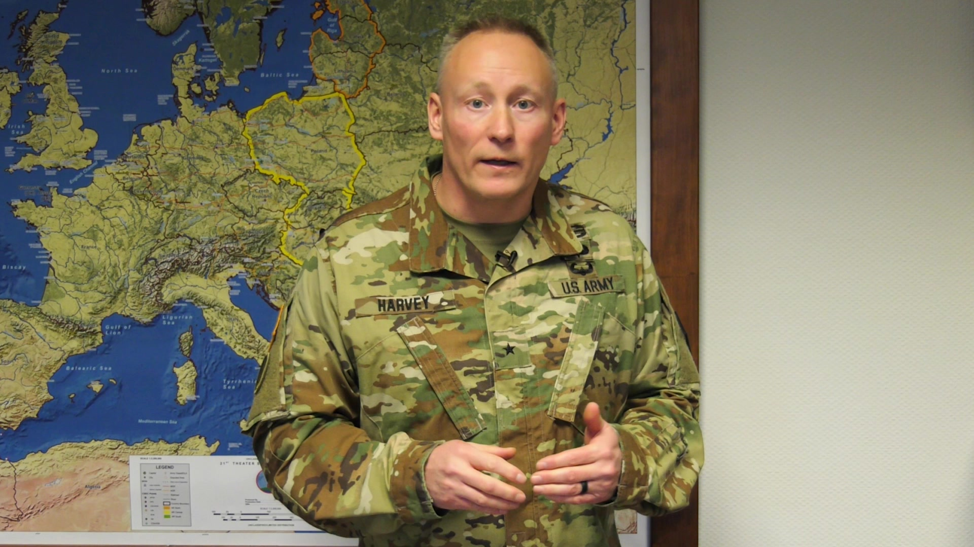 Commanding General Brig. Gen. Michael T. Harvey of the 7th Mission Support Command discusses new information regarding COVID-19 in Europe and some impacts on personnel and their families.