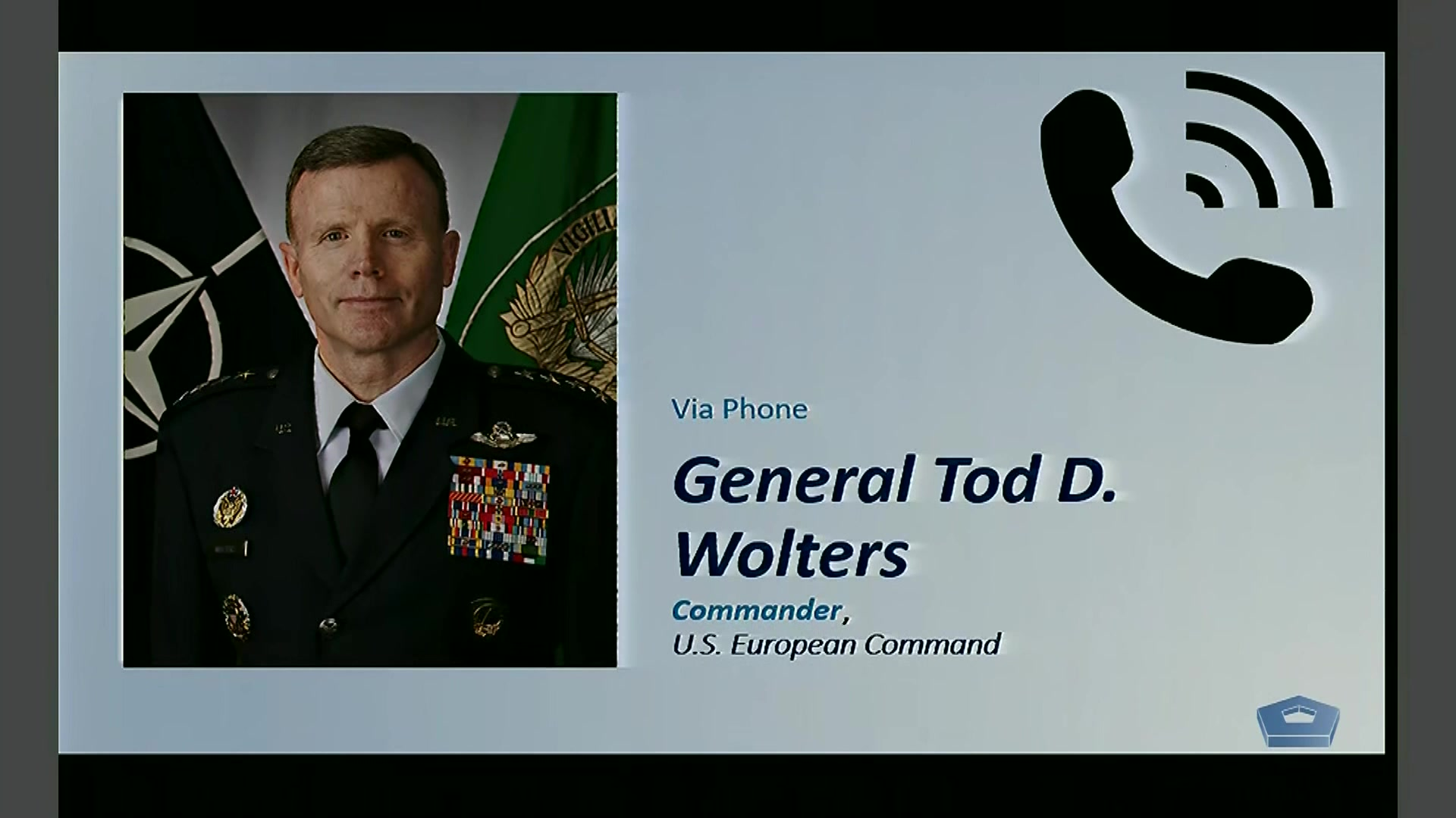 Air Force Gen. Tod D. Wolters, commander of U.S. European Command, conducts a Pentagon news conference via telephone about the command's response to COVID-19, March 20, 2020.