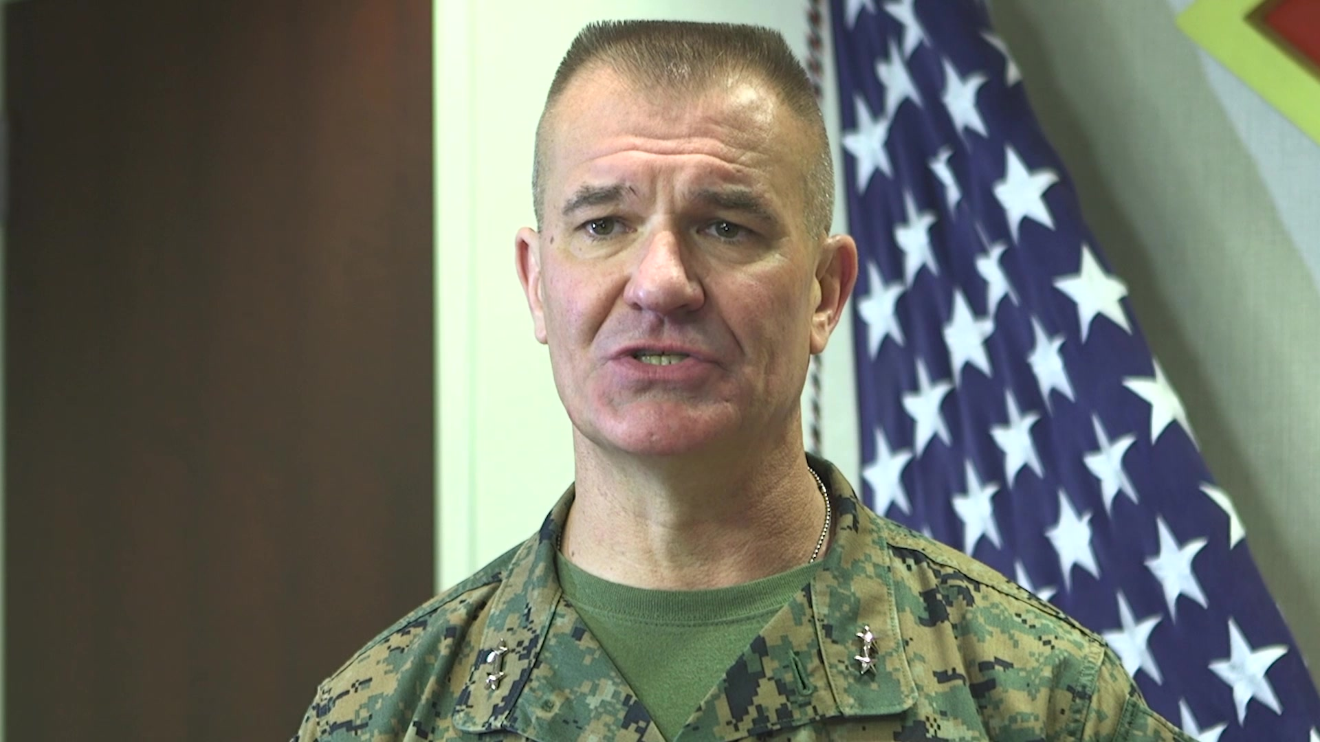 Marine Maj. Gen. Karsten S. Heckl and Sgt. Maj. Jacob M. Reiff pose for a video at Marine Corps Air Station Cherry Point, North Carolina, March 20, 2020. The video informs Marines, Sailors and their families about actions being taken in place during the COVID-19. Heckl is the commanding general for 2nd Marine Aircraft Wing. Reiff is the sergeant major for 2nd Marine Aircraft Wing. (U.S. Marine Corps video by Cpl. Paige C. Stade)