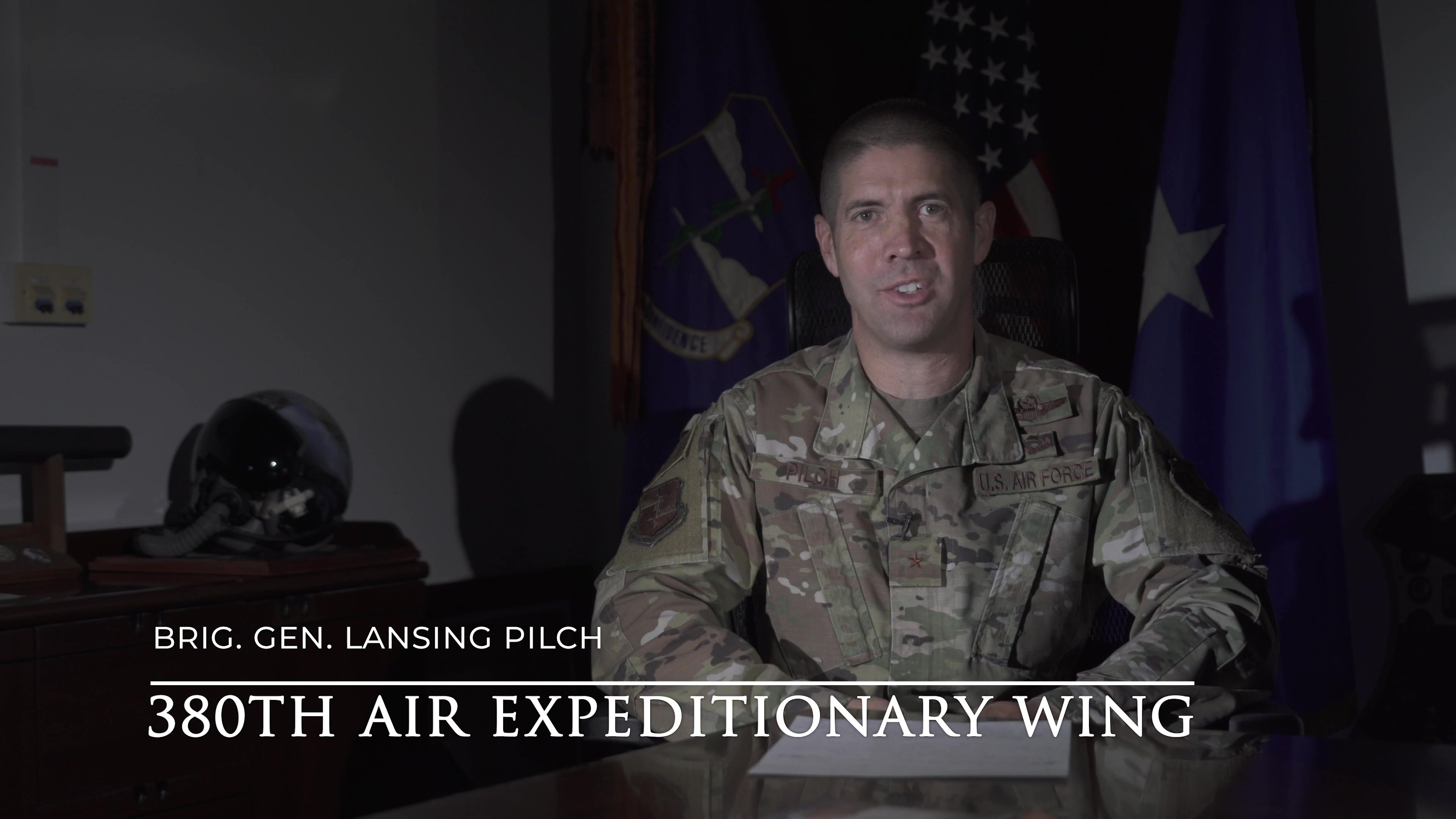 Brig. Gen. Lansing Pilch, Commander of the 380th Air Expeditionary Wing, delivers a message to Al Dhafra Air Base members regarding COVID-19. (U.S. Air Force video by Tech. Sgt. Joshua Williams)