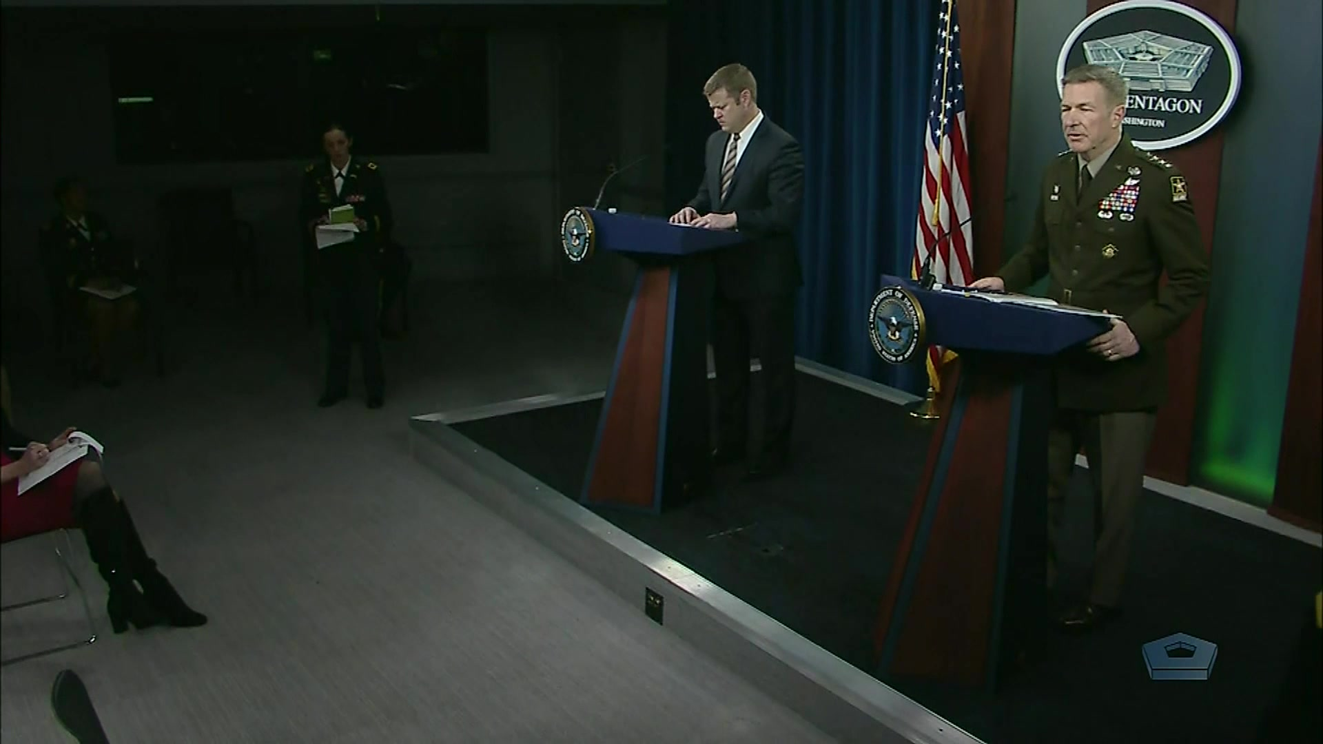 Army Secretary Ryan D. McCarthy; Army Chief of Staff Gen. James C. McConville; and Army Lt. Gen. Daniel R. Hokanson, director of the Army National Guard, brief reporters on the Army's role in the Defense Department's COVID-19 efforts during a Pentagon news conference, March 26, 2020.