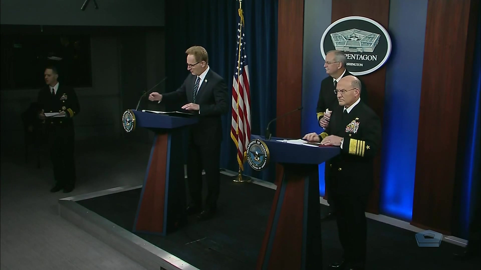Acting Navy Secretary Thomas B. Modly and Navy Adm. Michael Gilday, chief of naval operations hold a news conference at the Pentagon, April 1, 2020.