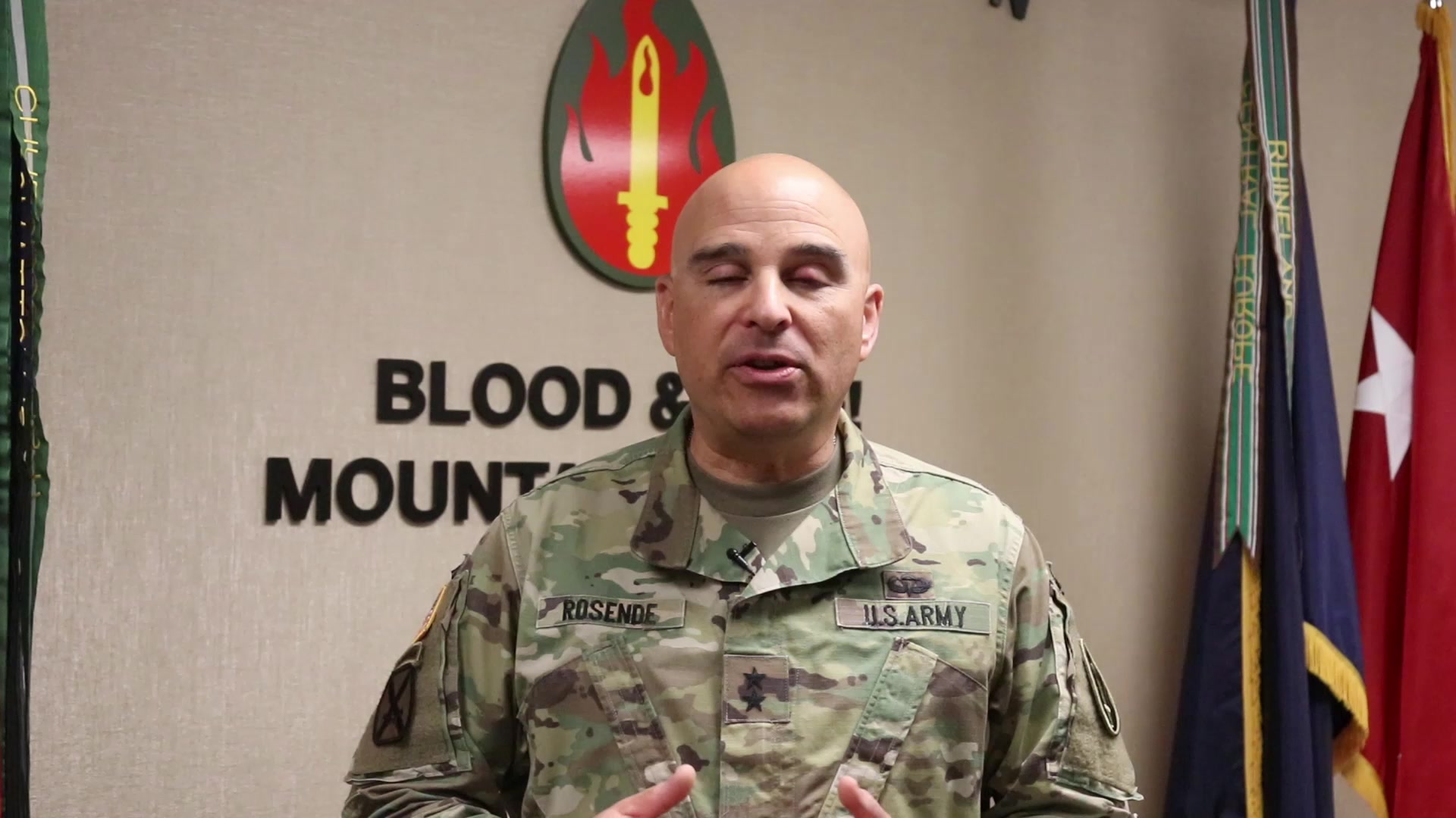 Maj. Gen. Alberto Rosende, Commanding General of the 63rd Readiness Division, addresses Soldiers, civilians and families of the 63rd Readiness Division about personal safety and prevention measures that should be taken to mitigate the spread of COVID-19.