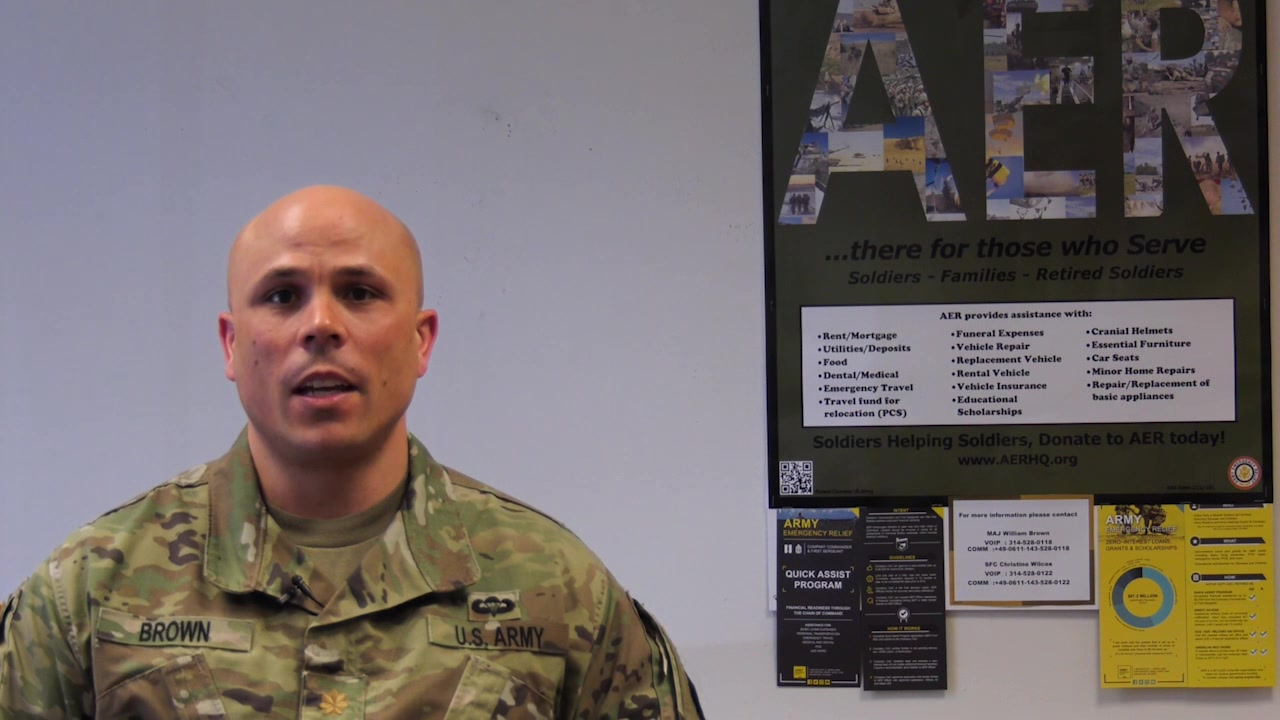 Maj. William Brown, AER representative with the 7th Mission Support Command, speaks about how Army Emergency Relief has recently made changes to include Reserve Soldiers.