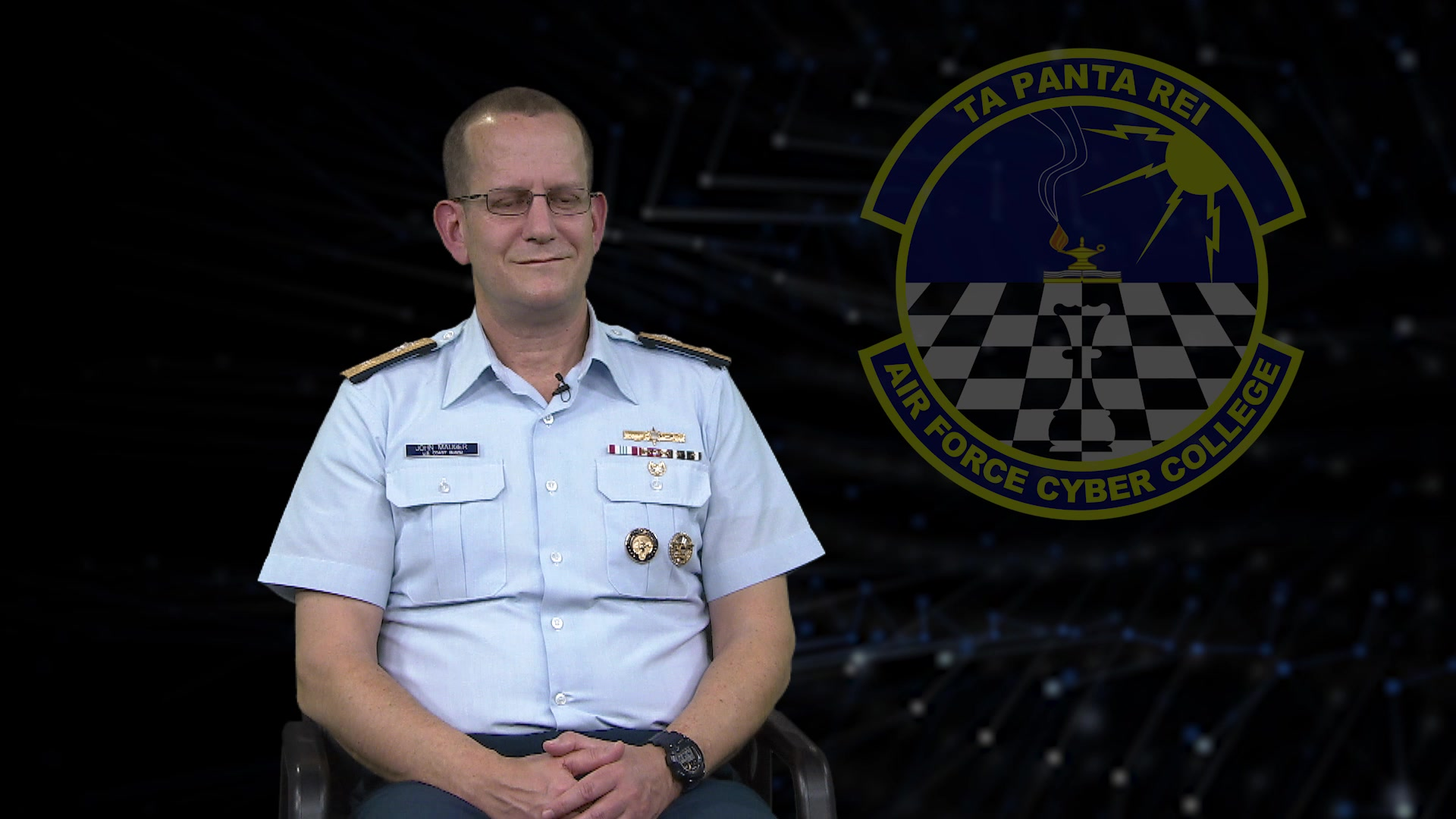 Video #3: One-on-one interview with RDML John Mauger, US CYBERCOM led by Col Kevin Beeker, Air Force Cyber College discussing cyber training and the role of professional military education. Video #3 of 5.