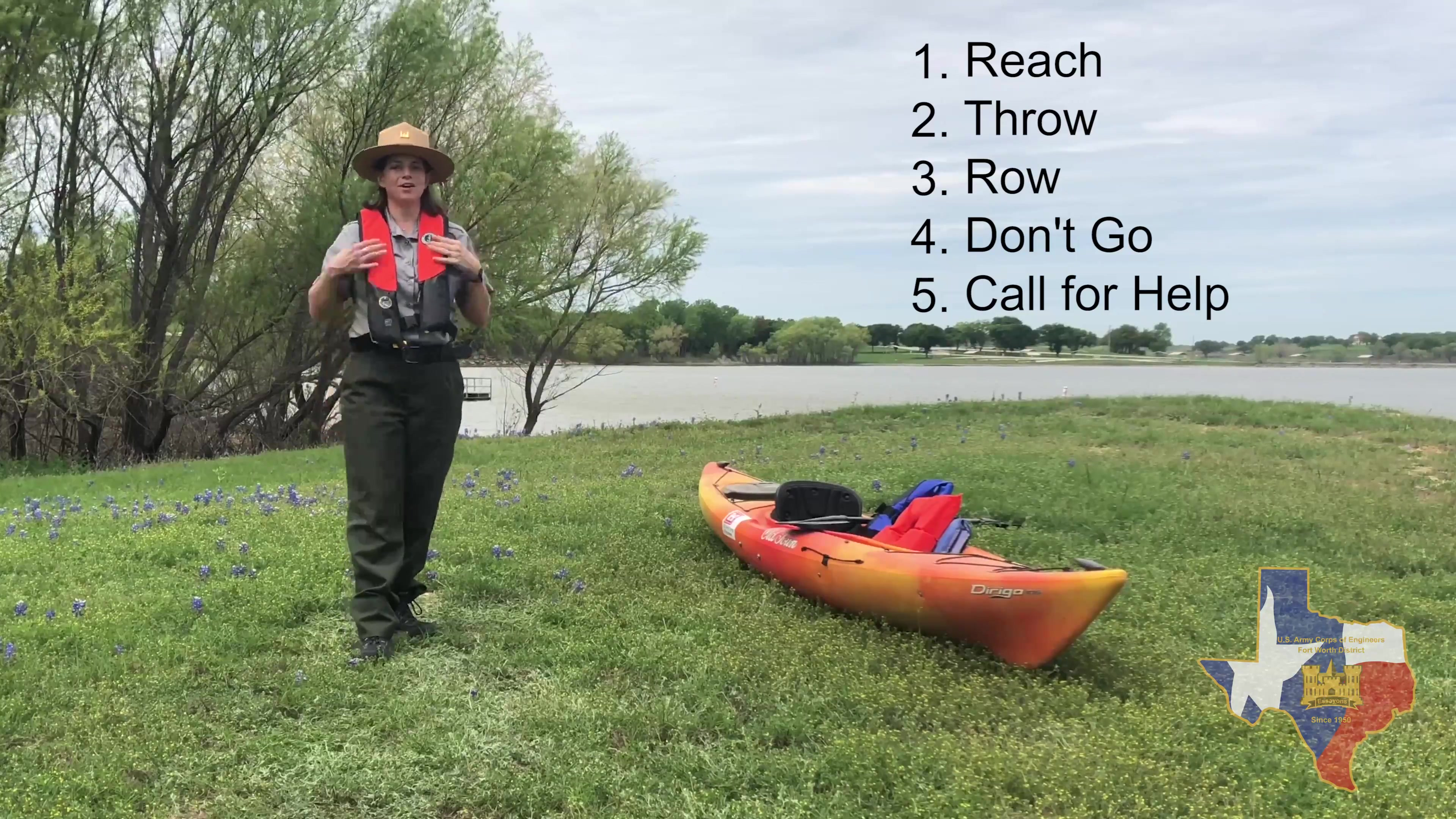 USACE Fort Worth's Proctor Lake Ranger Stephanie Jones teaches the FIVE things you need to know for helping a drown victim.