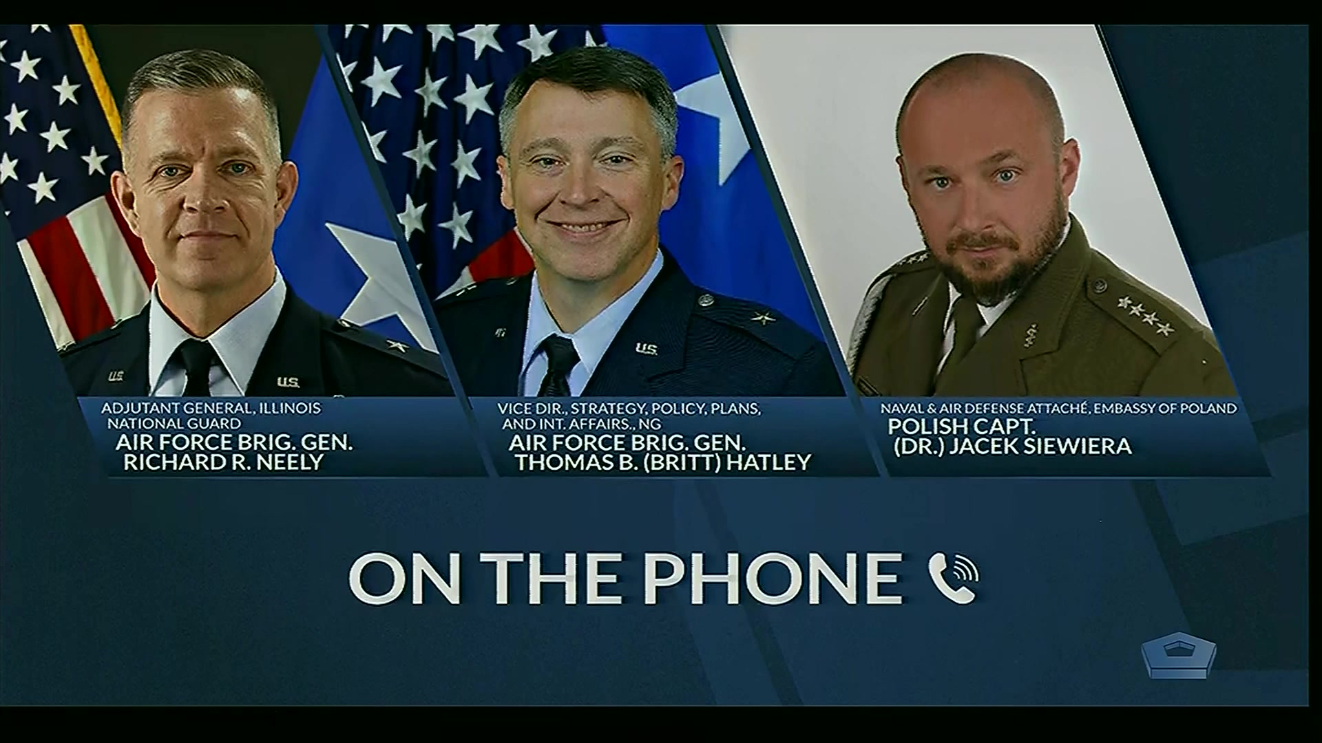 A graphic shows portraits of three service members.