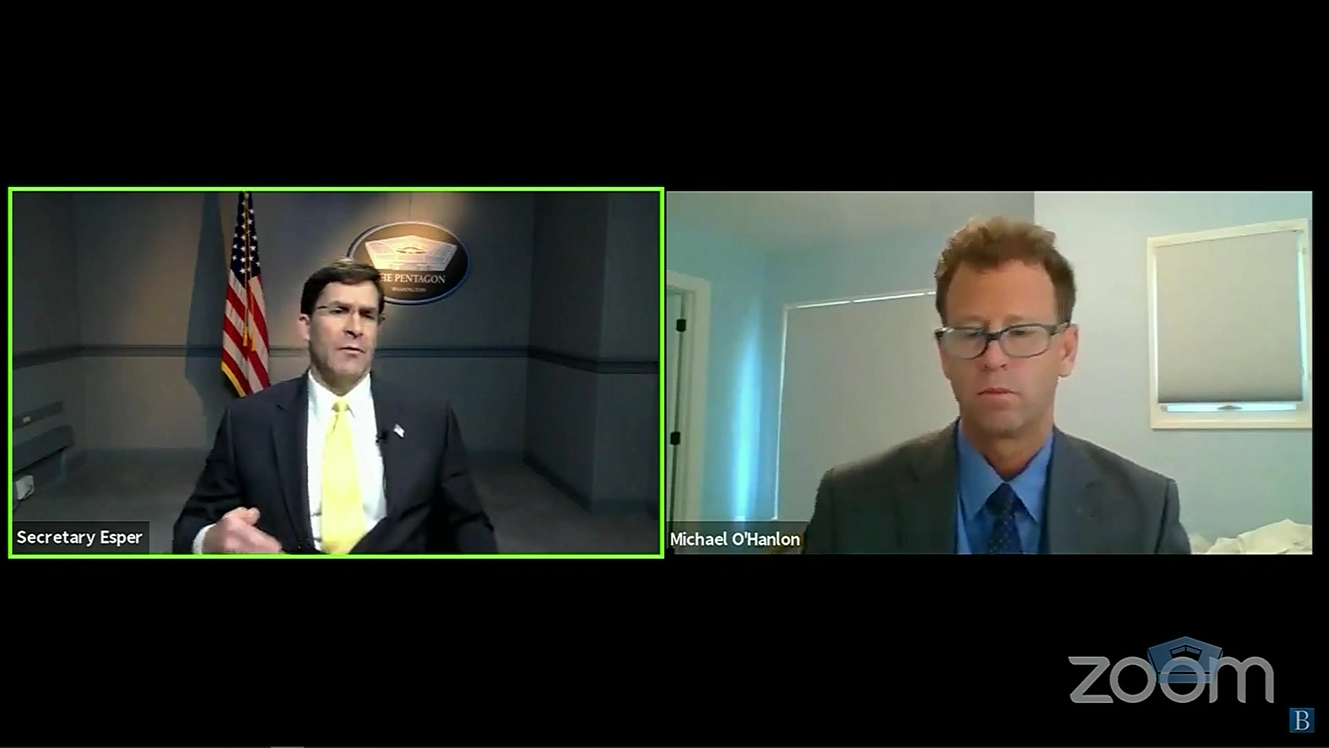 Defense Secretary Dr. Mark T. Esper and another civilian are shown on a split screen talking with each other in two different rooms.
