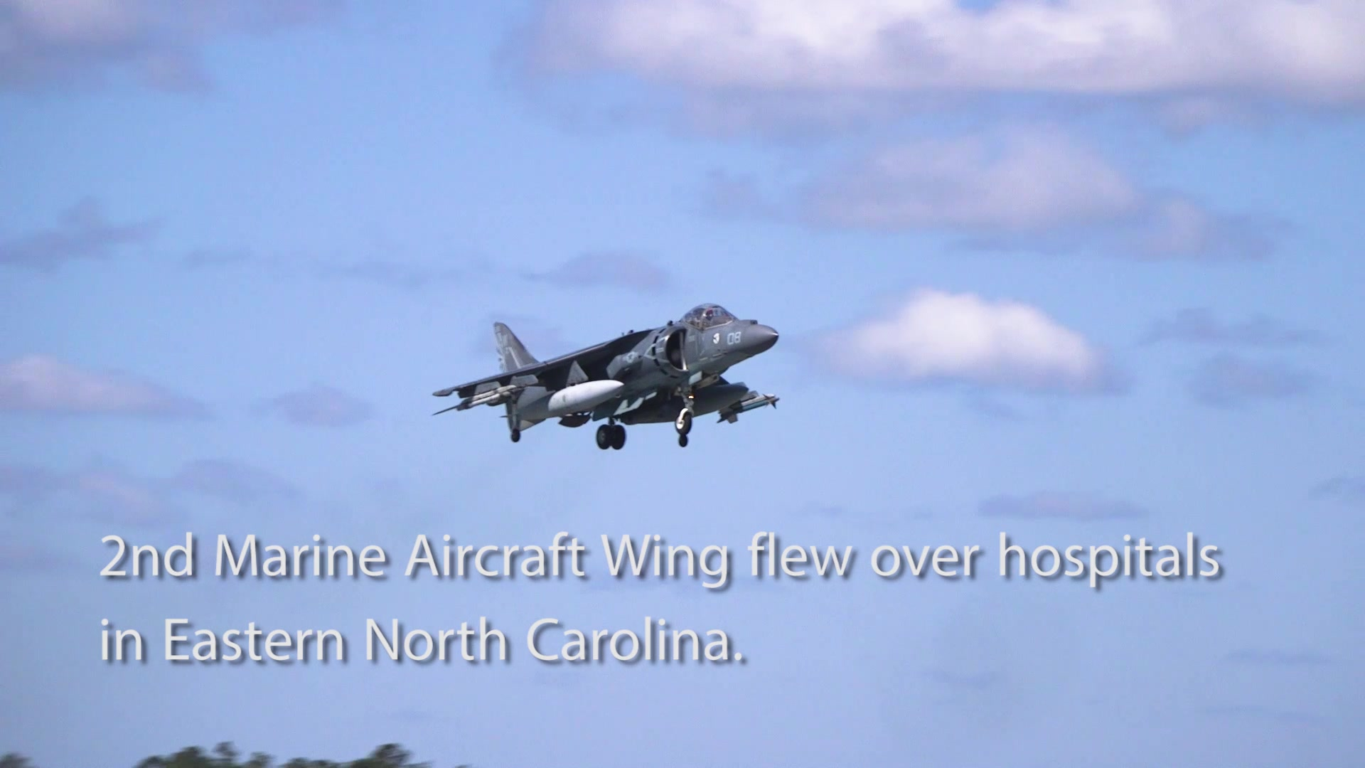 Four U.S. Marine Corps AV-8B Harriers with Marine Attack Squadron 223 performed a flyover across hospitals in Eastern North Carolina, May 7, 2020. The flyover showed continued support to those working on the front lines in the fight against COVID-19. (U.S. Marine Corps video by Cpl. Damaris Arias)