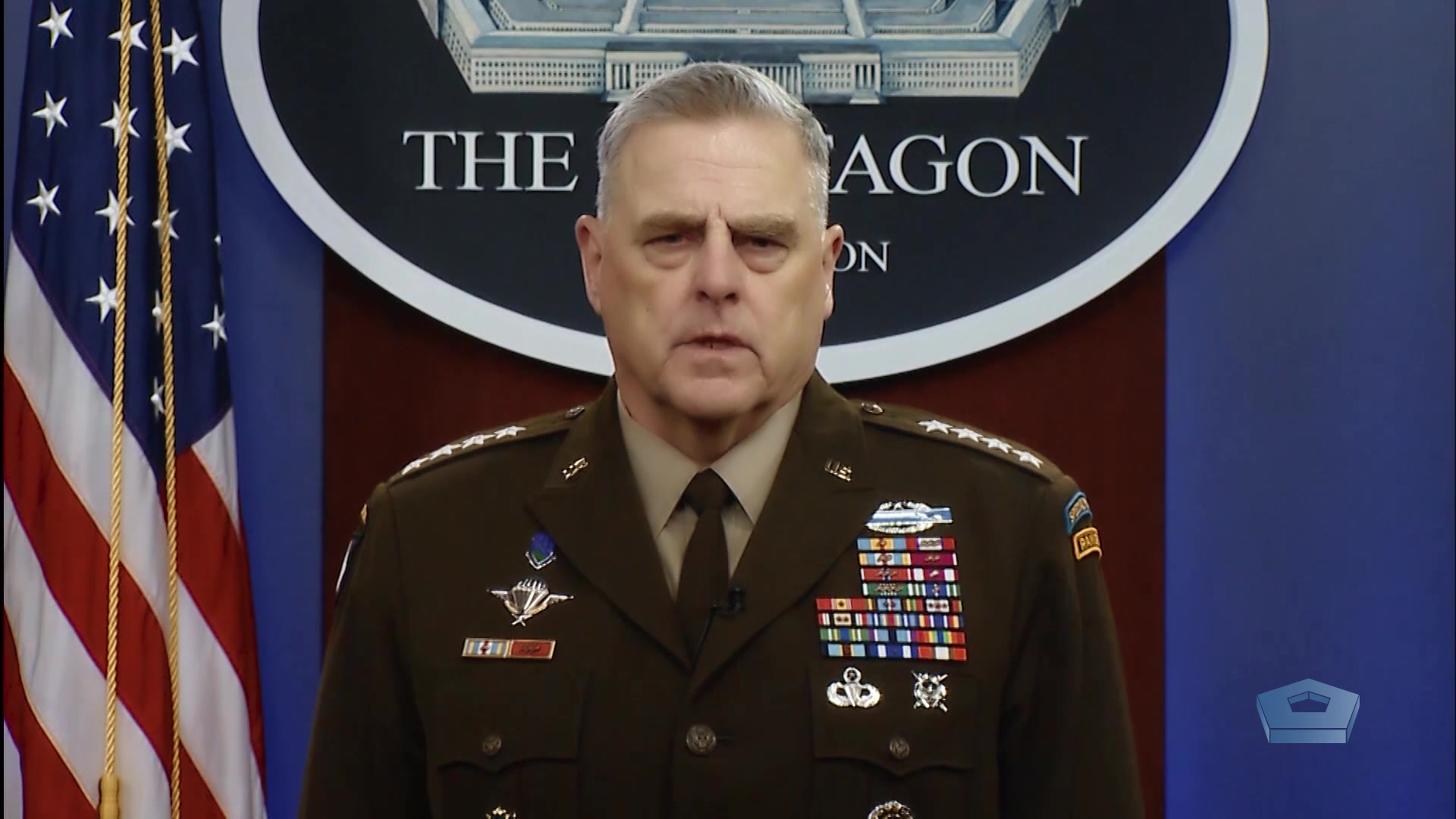 Caption:  Chairman of the Joint Chiefs of Staff Army Gen. Mark A. Milley addresses the nation on the 75th anniversary of V-E Day.