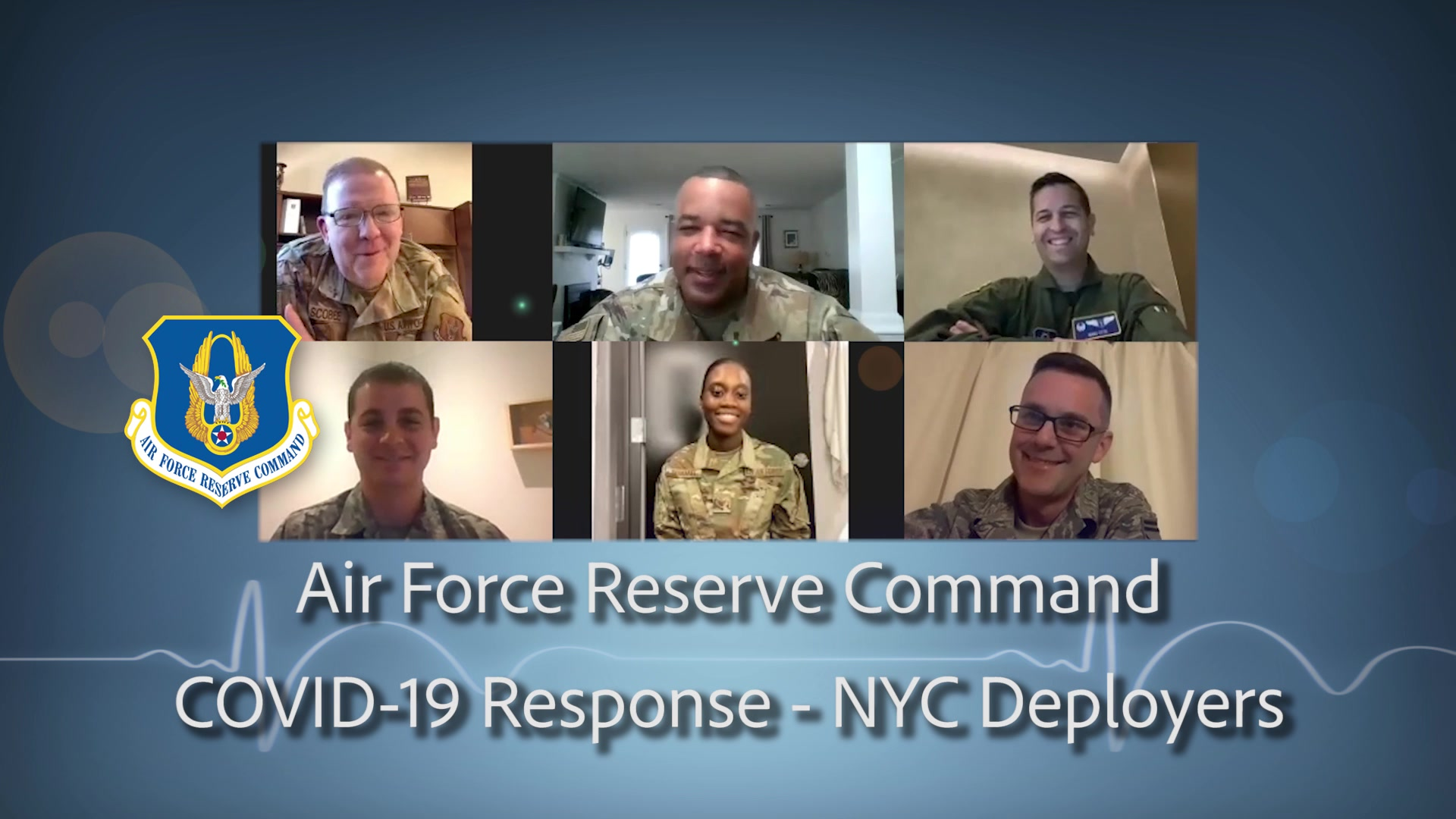 "In keeping with the first Air Force Reserve COVID-19 priority of ""Taking care of Americans, Airmen, and Families"", Lt. Gen. Richard Scobee, Commander of the Air Force Reserve Command along with the AFRC Command Chief, CMSgt Timothy White check in with four airmen that are deployed to New York City taking care of the hardest hit Americans in this pandemic.  The call was made simply to say Thank You and to ask if there is anything else in the way of support needed to help carry out the mission.  THANK YOU TO ALL OUR RESERVE CITIZEN AIRMEN ON THE FRONT LINES FIGHTING COVID-19!"