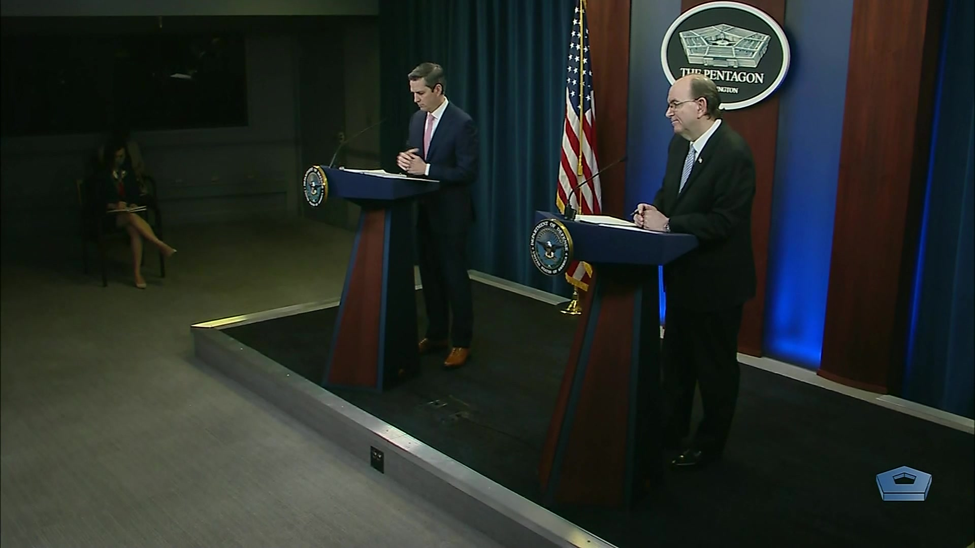 Jonathan Rath Hoffman, assistant to the secretary of defense for public affairs, briefs the news media at the Pentagon on COVID-19 efforts, May 21, 2020.