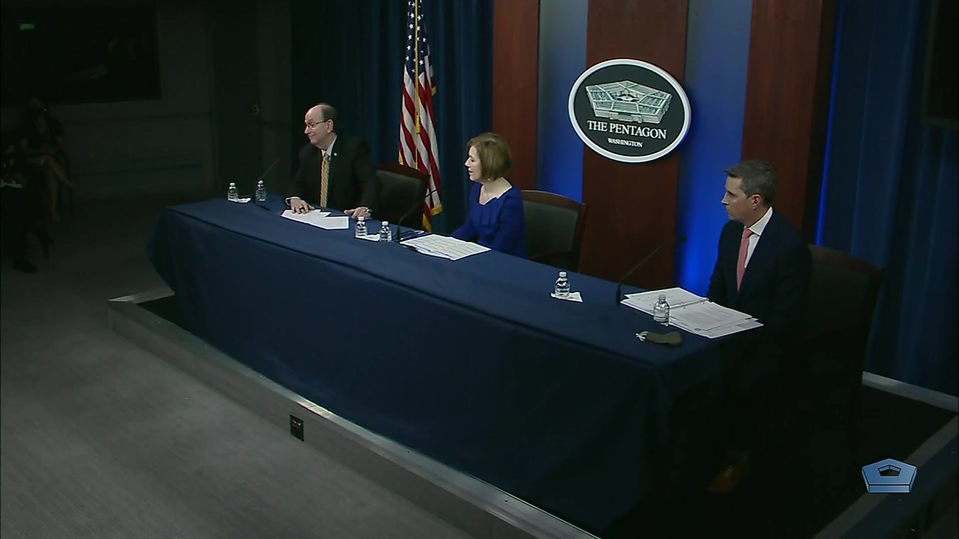 Jonathan Rath Hoffman, assistant to the secretary of defense for public affairs; Matthew Donovan, undersecretary of defense for personnel and readiness; and Lisa W. Hershman, the Defense Department's chief management officer, take questions from reporters pertaining to COVID-19 at the Pentagon, May 26, 2020.