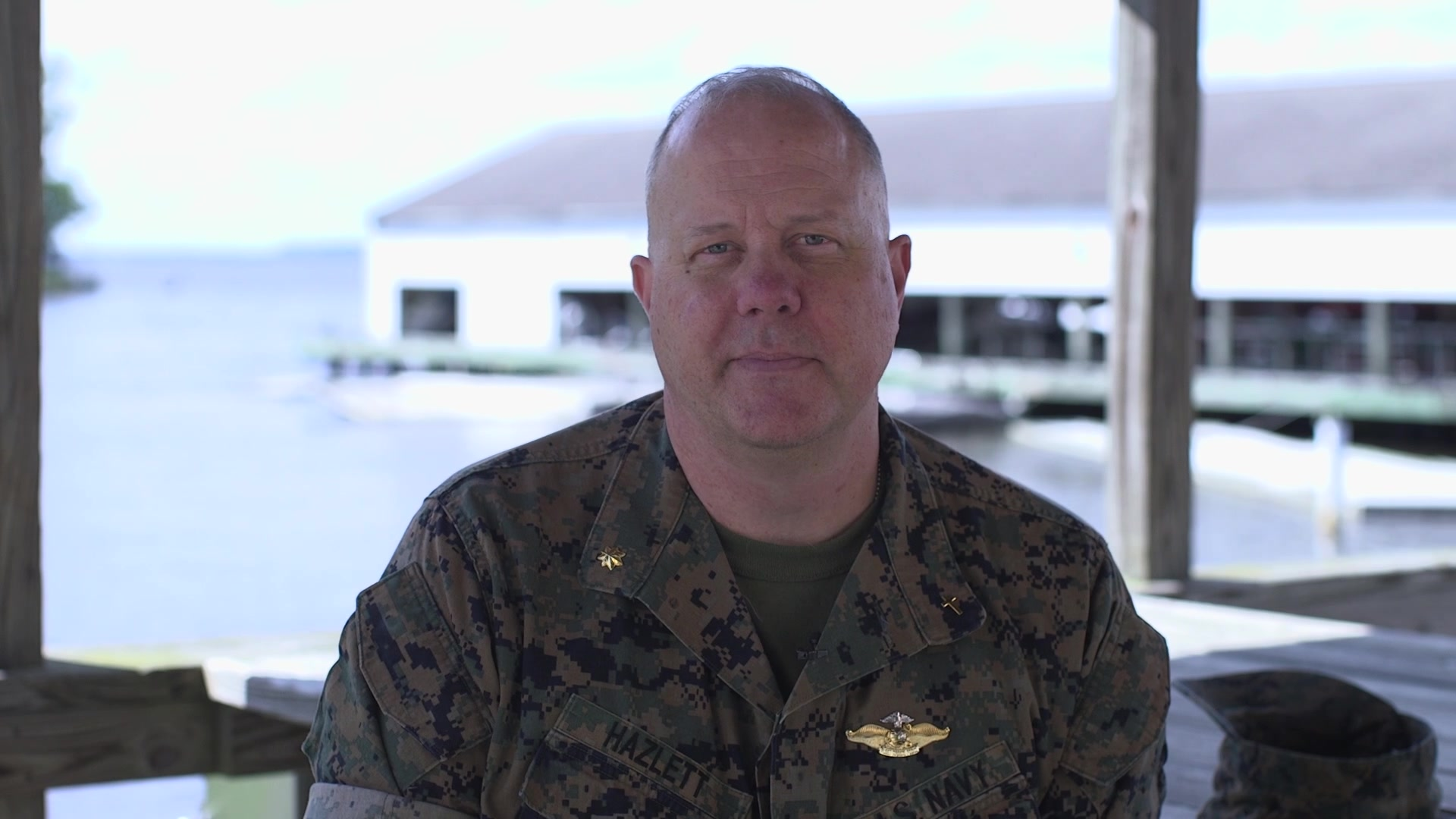"U.S. Navy Lt. Cmdr. Gregg Hazlett, the chaplain of Headquarter Battalion, 2d Marine Division, speaks about the importance of integrity during a ""Follow Me"" moment at Camp Lejeune, North Carolina, May 7, 2020. Integrity is a Marine Corps leadership trait associated with honesty, a sense of duty, and sound moral principles. (U.S. Marine Corps video by Cpl. Aaron Douds)"