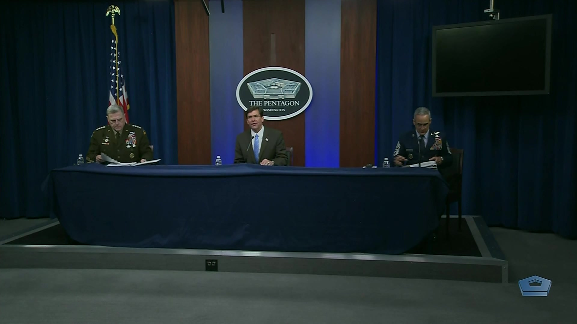 """Defense Secretary Dr. Mark T. Esper; Army Gen. Mark A. Milley, chairman of the Joint Chiefs of Staff; and Senior Enlisted Advisor to the Chairman of the Joint Chiefs of Staff Ramón """"CZ"""" Colón-López hold a virtual town hall meeting at the Pentagon. They will answer questions about COVID-19 from service members, Defense Department civilians and family members around the globe, May 28, 2020."""