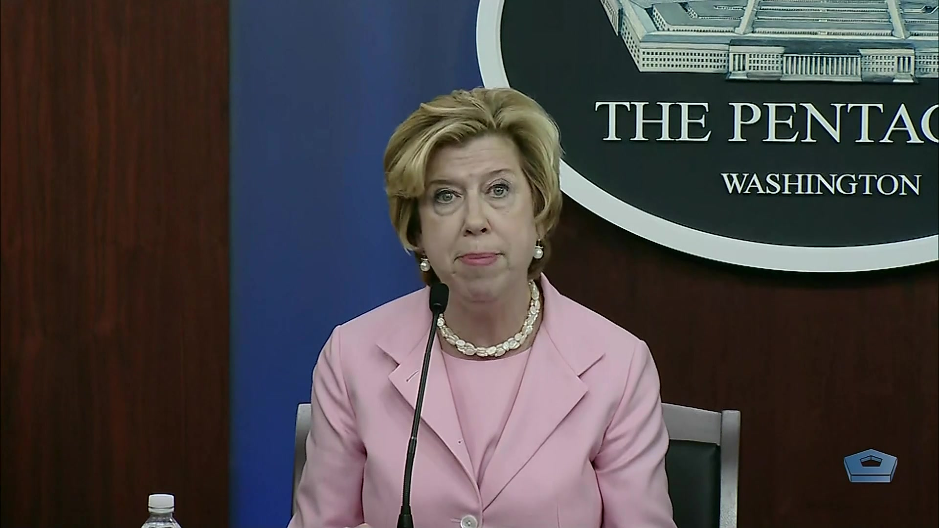 Ellen M. Lord, undersecretary of defense for acquisition and sustainment, updates the news media on the Defense Department's COVID-19 acquisition policy at the Pentagon, June 22, 2020.
