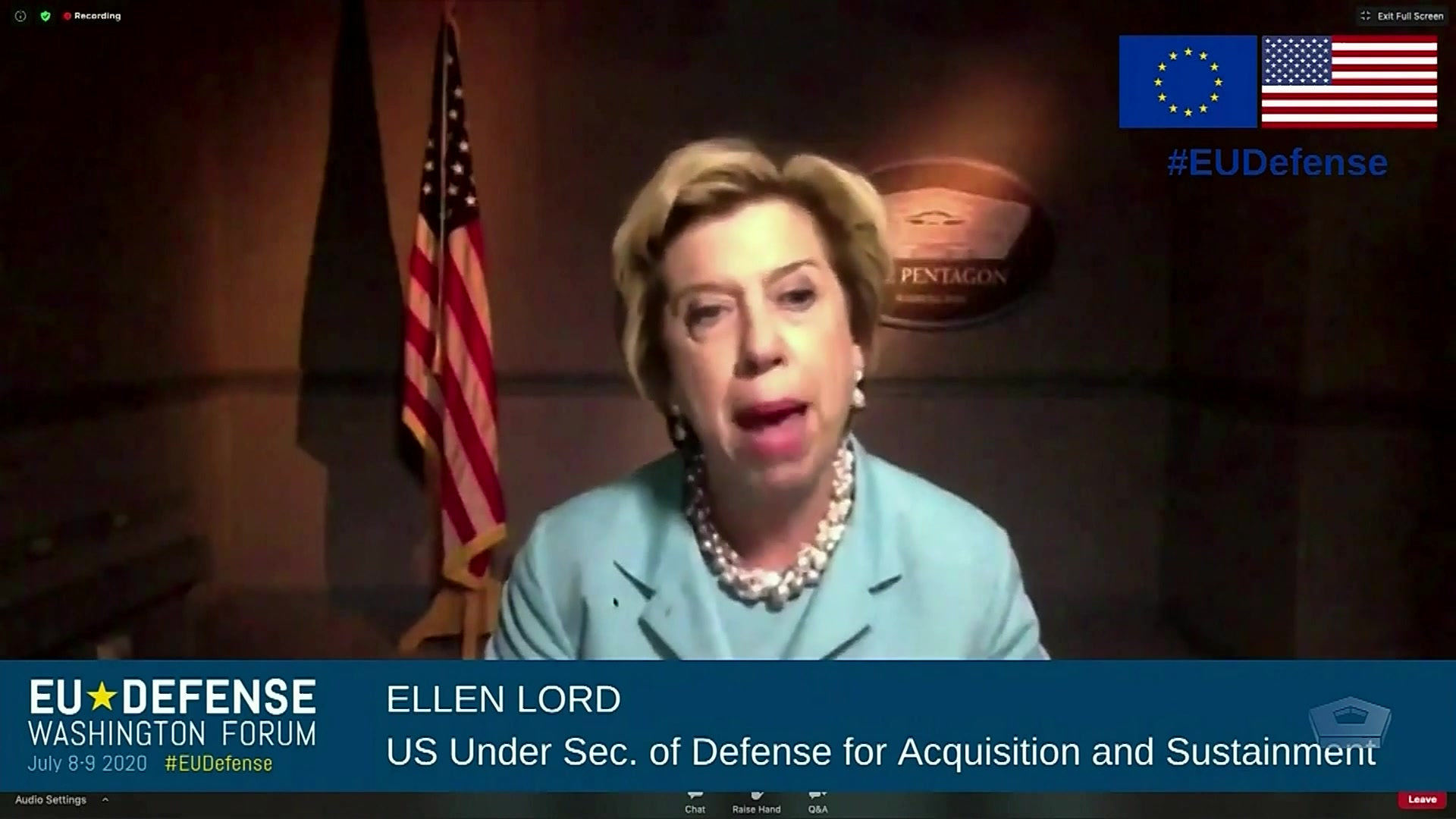 Ellen M. Lord, undersecretary of defense for acquisition and sustainment, discusses defense spending and capabilities after COVID-19 at the Brookings Institution's virtual European Union Defense Washington Forum, July 8, 2020.