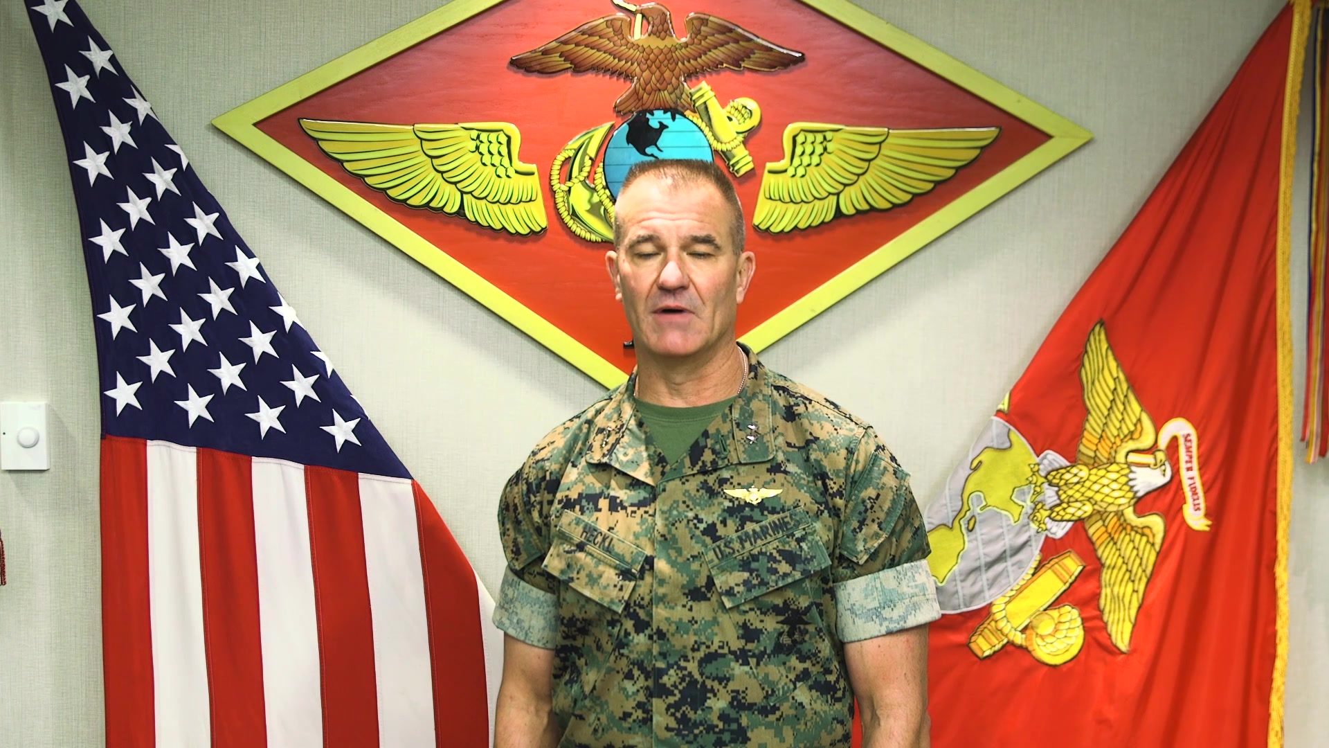 Marine Maj. Gen. Karsten S. Heckl poses for a video at Marine Corps Air Station Cherry Point, North Carolina, June 30, 2020.  Heckl addresses the Marines, Sailors and families of 2nd Marine Aircraft Wing in a final farewell before he relinquishes command to Maj. Gen Michael S. Cederholm on July 10th, 2020.  Heckl is the commanding general for 2nd MAW. (U.S. Marine Corps video by Cpl. Paige C. Stade)
