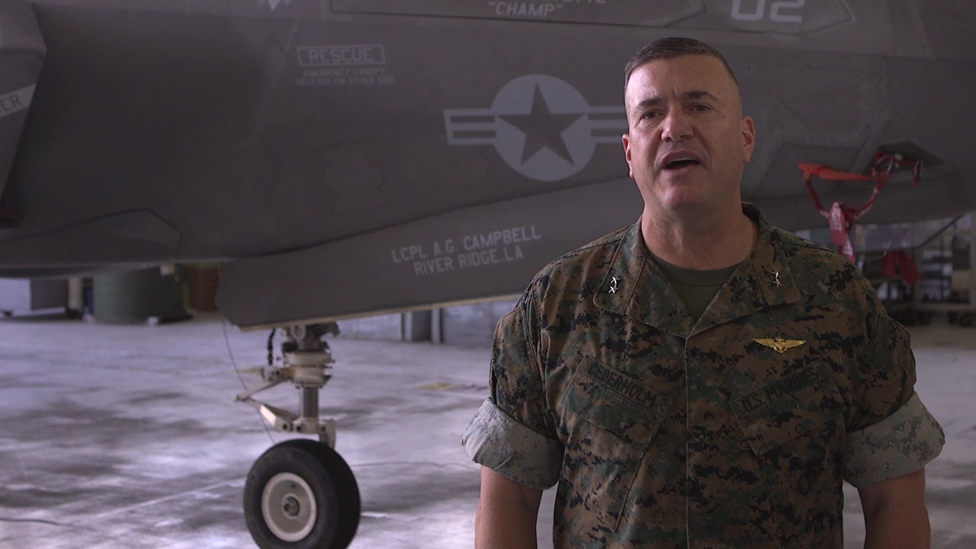 Maj. Gen. Michael S. Cederholm poses for welcome video to 2nd Marine Aircraft Wing at Marine Corps Air Station Cherry Point, North Carolina, July 9th, 2020. The video greets Marines, Sailors and their Families as Cederholm assumes command of 2nd MAW from Maj. Gen. Karsten S. Heckl, July 10th, 2020. (U.S. Marine Corps video by Cpl. Paige C. Stade)