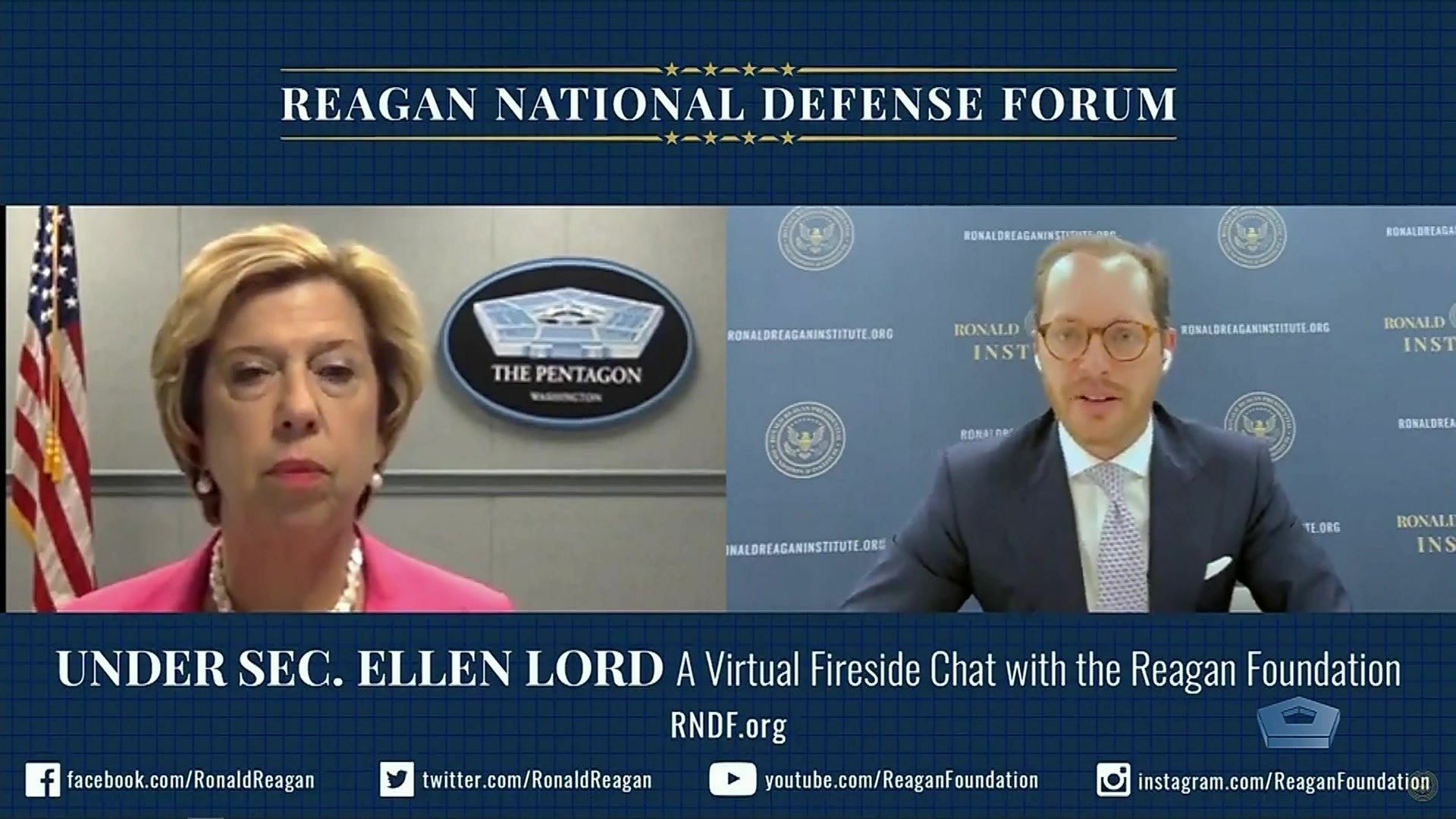 Ellen M. Lord, undersecretary of defense for acquisition and sustainment, joins Roger Zakheim, director of the Ronald Reagan Institute, for a virtual fireside chat to discuss U.S. defense policy in the era of COVID-19, the national security innovation base and how a flat budget will affect the Pentagon, July 16, 2020. This event is an extension of programming from the Reagan National Defense Forum.