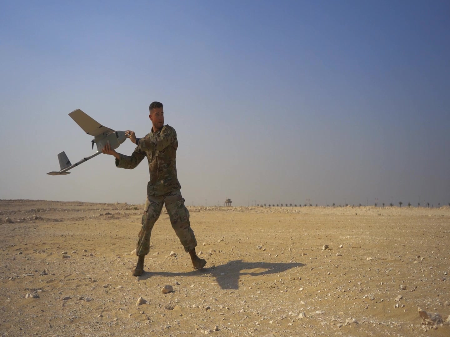 Raven B operators conduct training with the small unmanned aircraft system at Al Udeid Air Base, Qatar. Raven Bs provide real-time aerial intelligence, surveillance and reconnaissance and enhance the 379th ESFS's force protection mission capabilities.