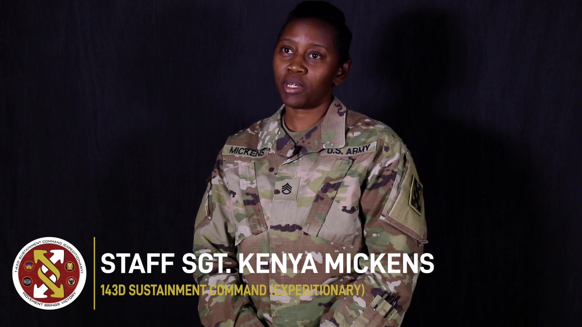 Staff Sgt. Kenya Mickens of the 143d Sustainment Command (Expeditionary) in Orlando, Fla, shared how her work environment changed during the COVID-19 pandemic. (U.S. Army video by Spc. Leon Orange)