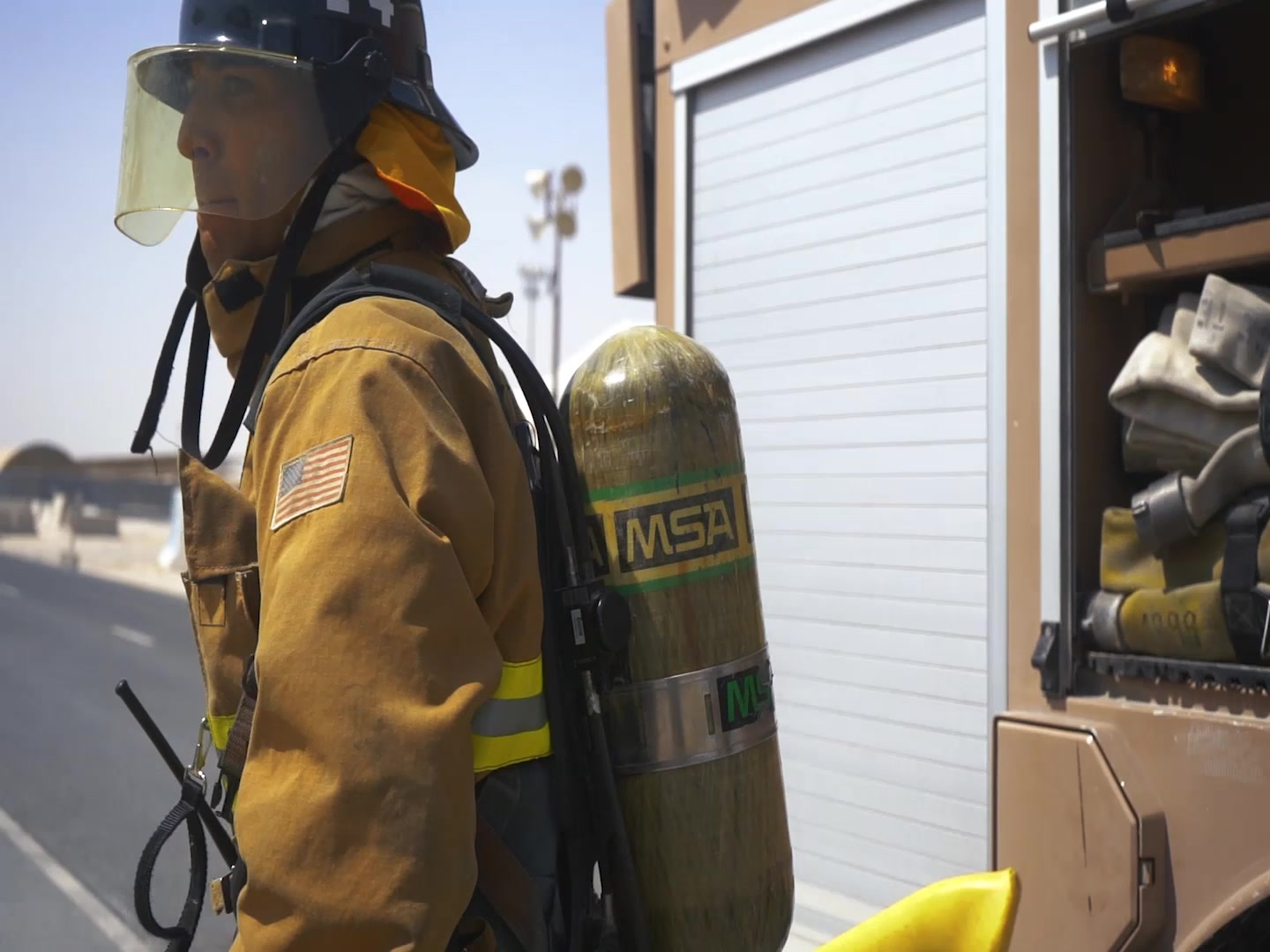 Firefighters conduct training to stay proficient in primary duties at Al Udeid Air Base, Qatar, July 10, 2020.