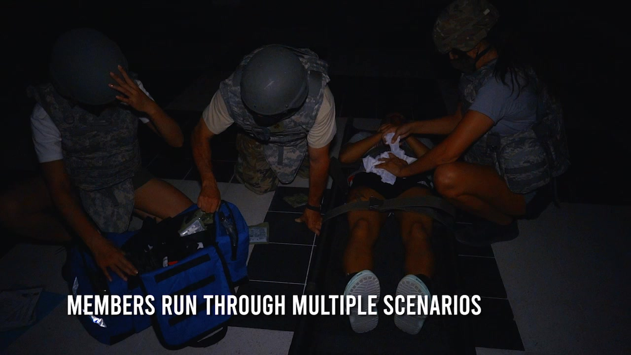 379th Expeditonary Medical Group personnel conduct training at Al Udied Air Base on July 24, 2020. Footage includes personnel rendering aid prior to ambulance arrival, ambulance loading and unloading and emergency room procedures.