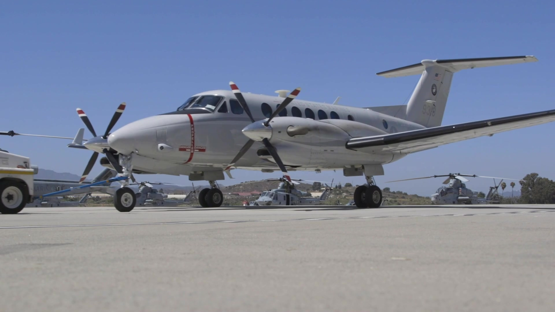 A U.S. Marine Corps UC-12W Huron with Headquarters and Headquarters Squadron, Marine Corps Air Station Camp Pendleton, lands at MCAS Camp Pendleton, California, July 31, 2020. This is the first time in the unit's history H&HS has operated aircraft as a flying squadron. The UC-12W gives H&HS operational support airlift capabilities, and allows them to to move critical equipment and personnel to any location in the U.S. in a timely and cost effective manner in support of other Marine Corps units. (U.S. Marine Corps video by Cpl. Stephen Beard)