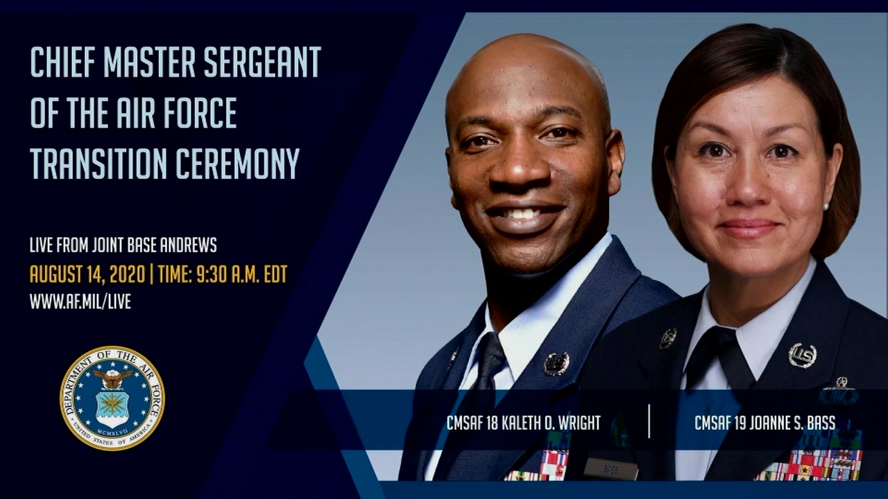 On 14 Aug 2020, CMSAF Kaleth O. Wright retires from active duty and passes on the duty of Chief Master Sgt. of The Air Force to CMSgt JoAnne S. Bass, at a transition ceremony held at Joint Base Andrews, MD.